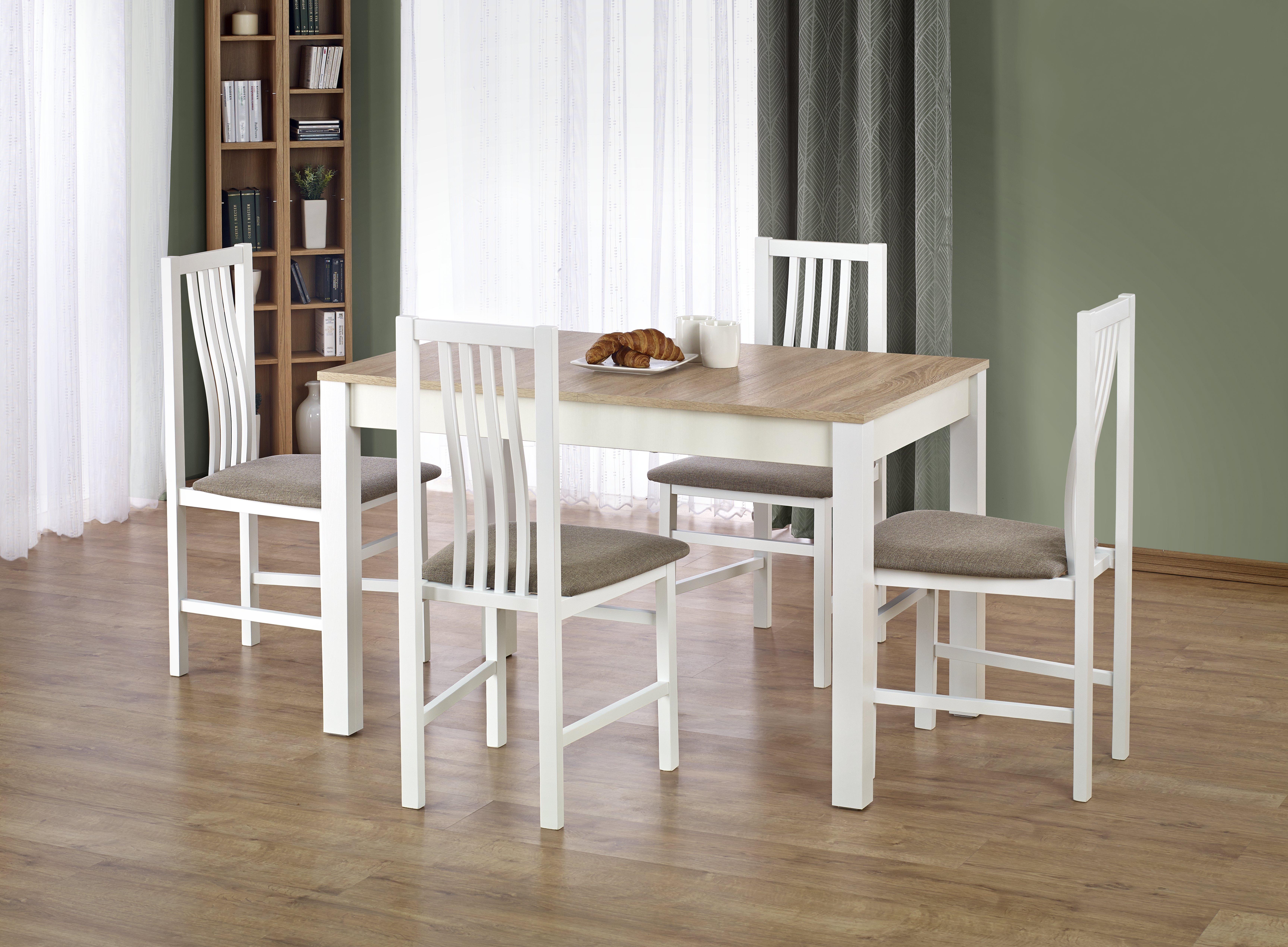 Jedálenský stôl - Halmar - Ksawery (dub sonoma + biela) (pre 4 osoby). Sme autorizovaný predajca Halmar. Vlastná spoľahlivá doprava až k Vám domov.
