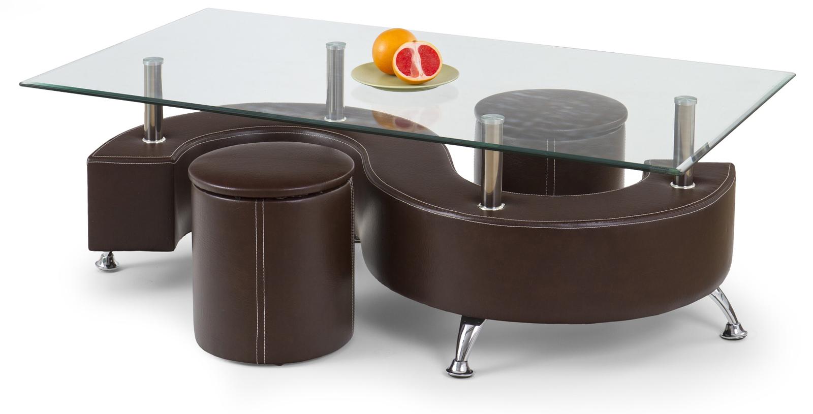 Konferenčný stolík - Halmar - Nina 3 tmavohnedá (s taburetkami)