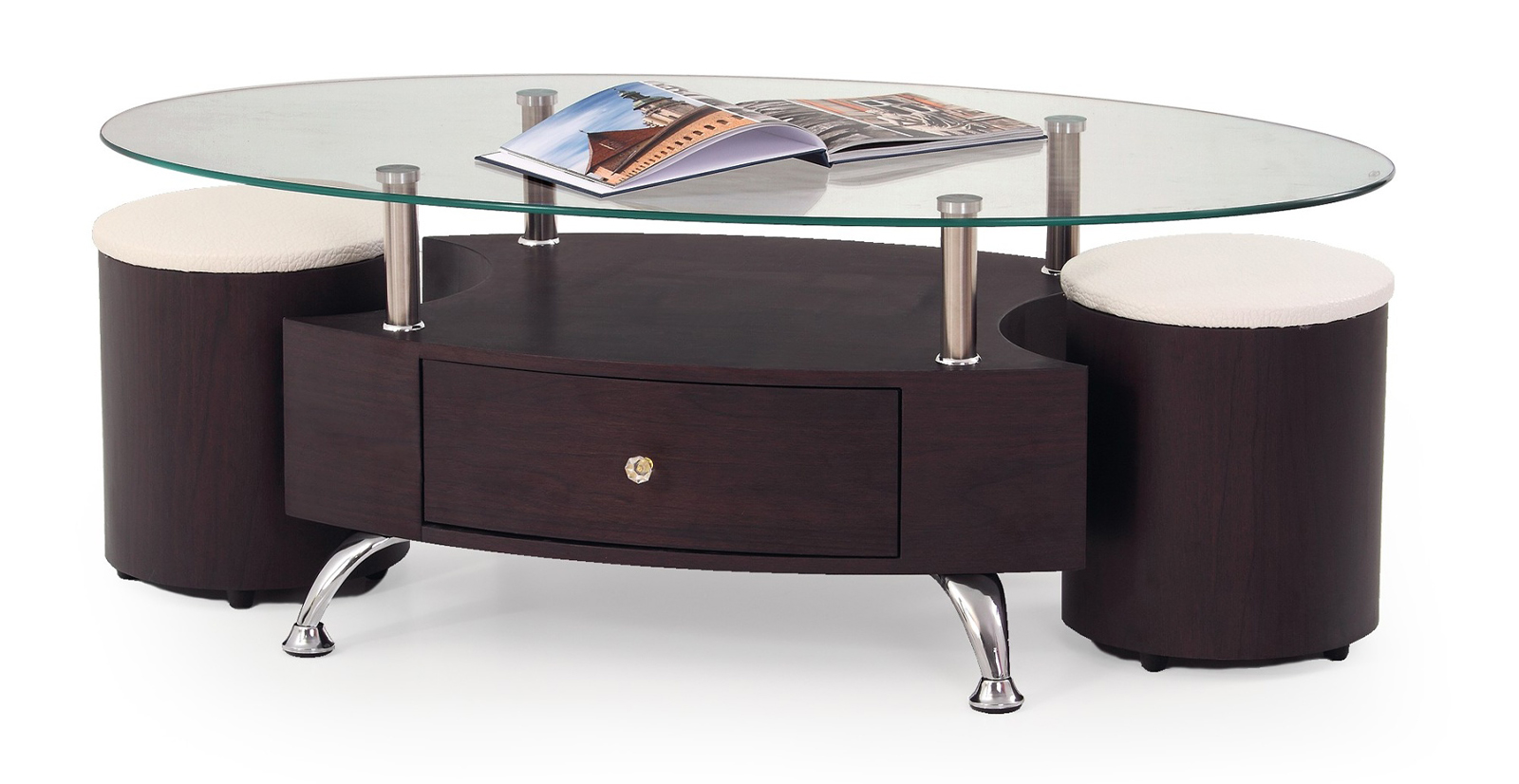 Konferenčný stolík - Halmar - Stella (s taburetkami)