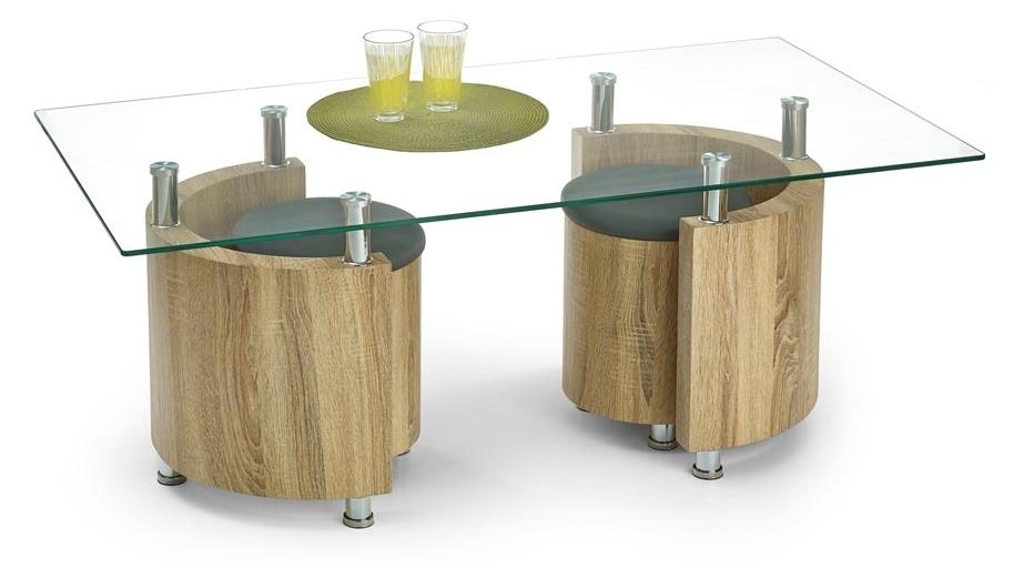 Konferenčný stolík - Halmar - Angel dub sonoma (s taburetkami)