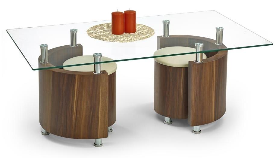 Konferenčný stolík - Halmar - Angel orech (s taburetkami)