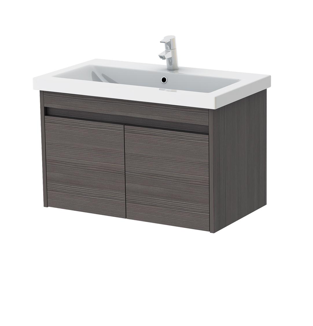 Kúpeľňová skrinka na stenu s umývadlom Juventa Ravenna Rv-80 (sivohnedá)