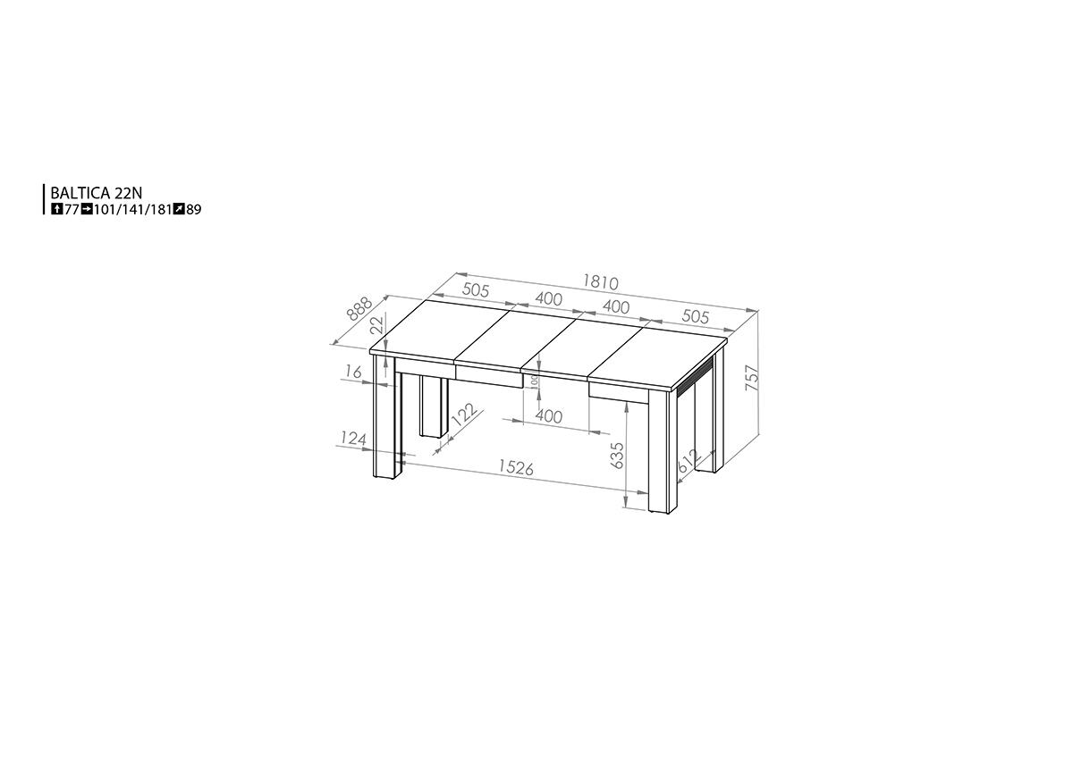 614c0dc7efe9f Jedálenský stôl Baltica 22 (pre 6 až 8 osôb) (dub lefkas ...