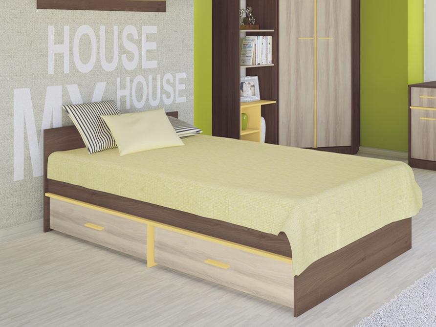 Jednolôžková posteľ 90 cm - ML Nábytok - Geometric 07 - Akácia + Brest
