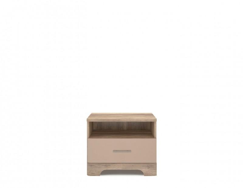 Nočný stolík - MOB - Mulatto - 1S (dub canyon + capuccino lesk). Akcia -9%. Sme autorizovaný predajca Mebel Bos. Vlastná spoľahlivá doprava až k Vám domov.