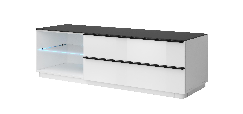 TV stolík/skrinka - Toft - Typ 40 (biela + čierne sklo). Akcia -42%. Vlastná spoľahlivá doprava až k Vám domov.