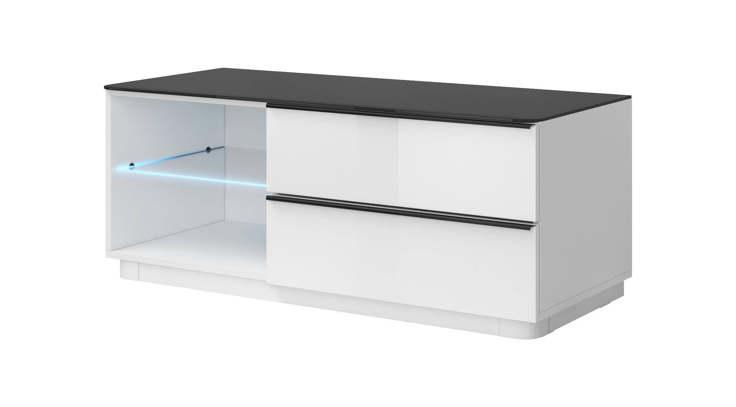 TV stolík/skrinka - Toft - Typ 41 (biela + čierne sklo). Akcia -40%. Vlastná spoľahlivá doprava až k Vám domov.