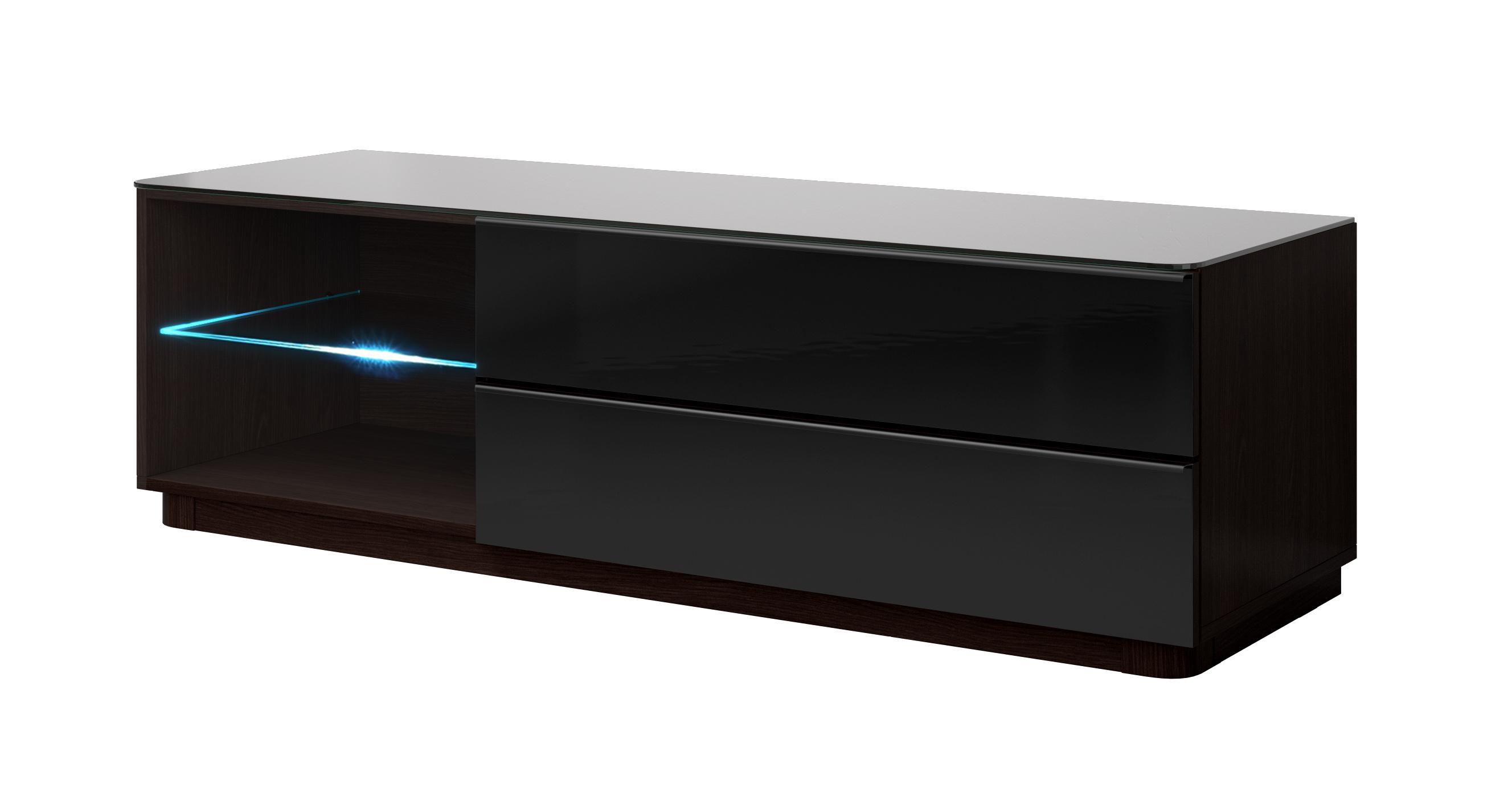 TV stolík/skrinka Toft Typ 40 (wenge + čierne sklo)