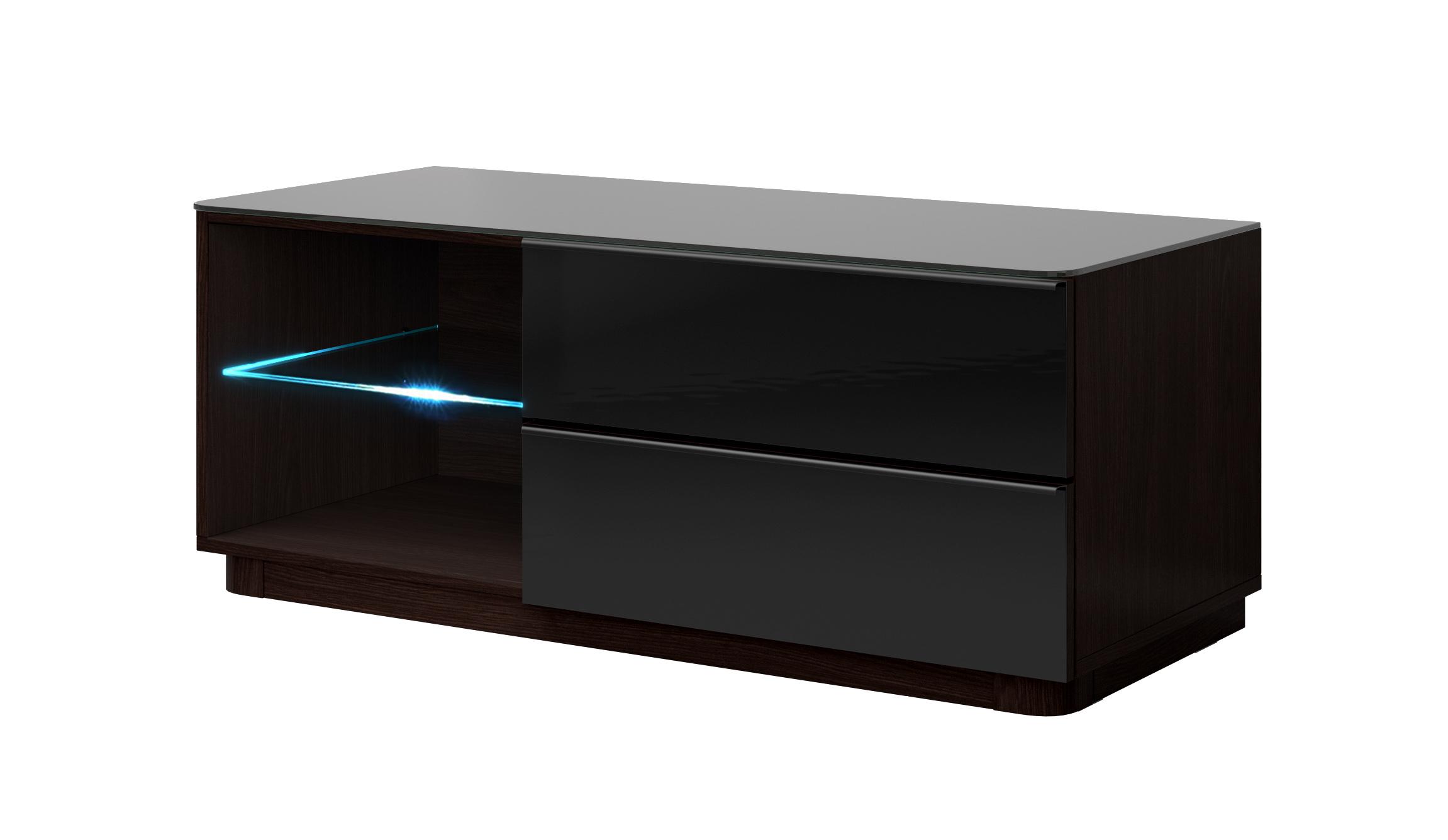 TV stolík/skrinka - Toft - Typ 41 (wenge + čierne sklo). Akcia -40%. Vlastná spoľahlivá doprava až k Vám domov.