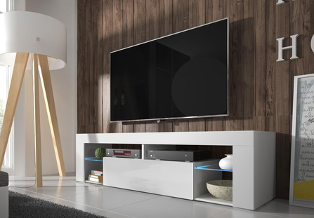 TV stolík/skrinka - MOB - Liala (biela + biely lesk) (s LED)