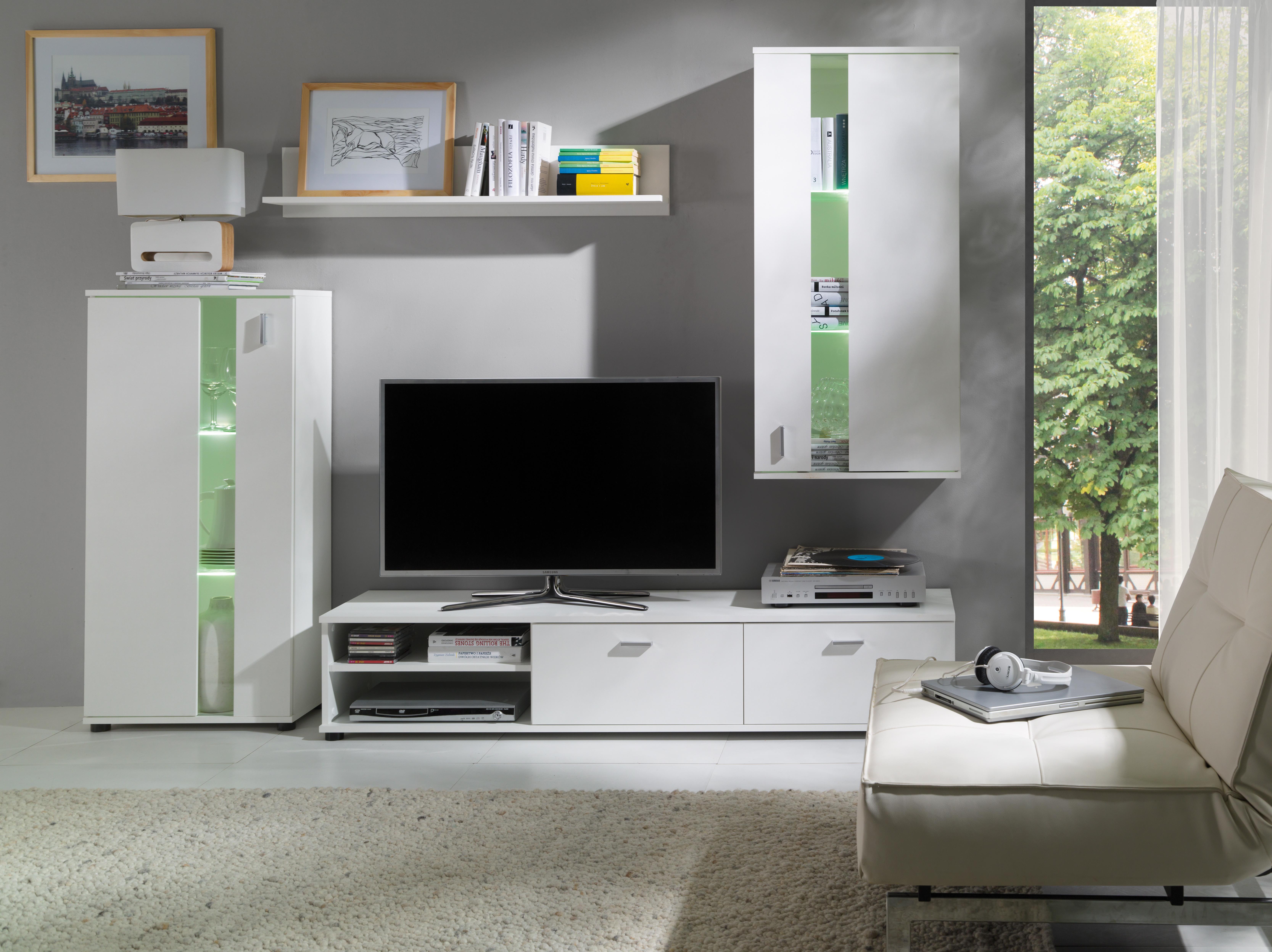 Obývacia stena - Milton - M3 (biela). Akcia -35%. Sme autorizovaný predajca Jurek. Vlastná spoľahlivá doprava až k Vám domov.