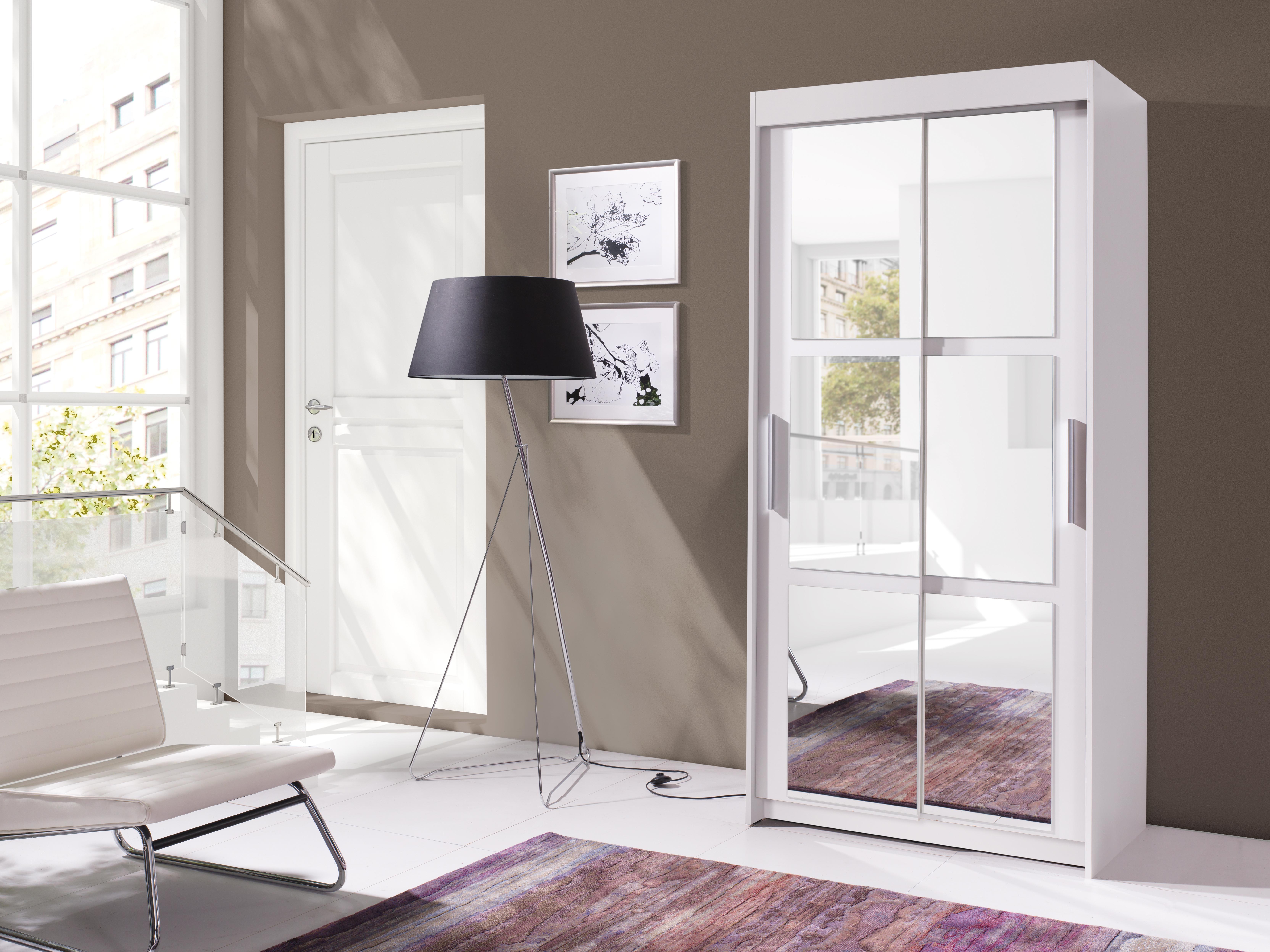 Šatníková skriňa - Kenton 100 (biela + zrkadlo). Akcia -30%. Vlastná spoľahlivá doprava až k Vám domov.
