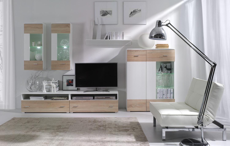 Obývacia stena - Welton - W1 (biela + dub sonoma). Akcia -34%. Sme autorizovaný predajca Jurek. Vlastná spoľahlivá doprava až k Vám domov.