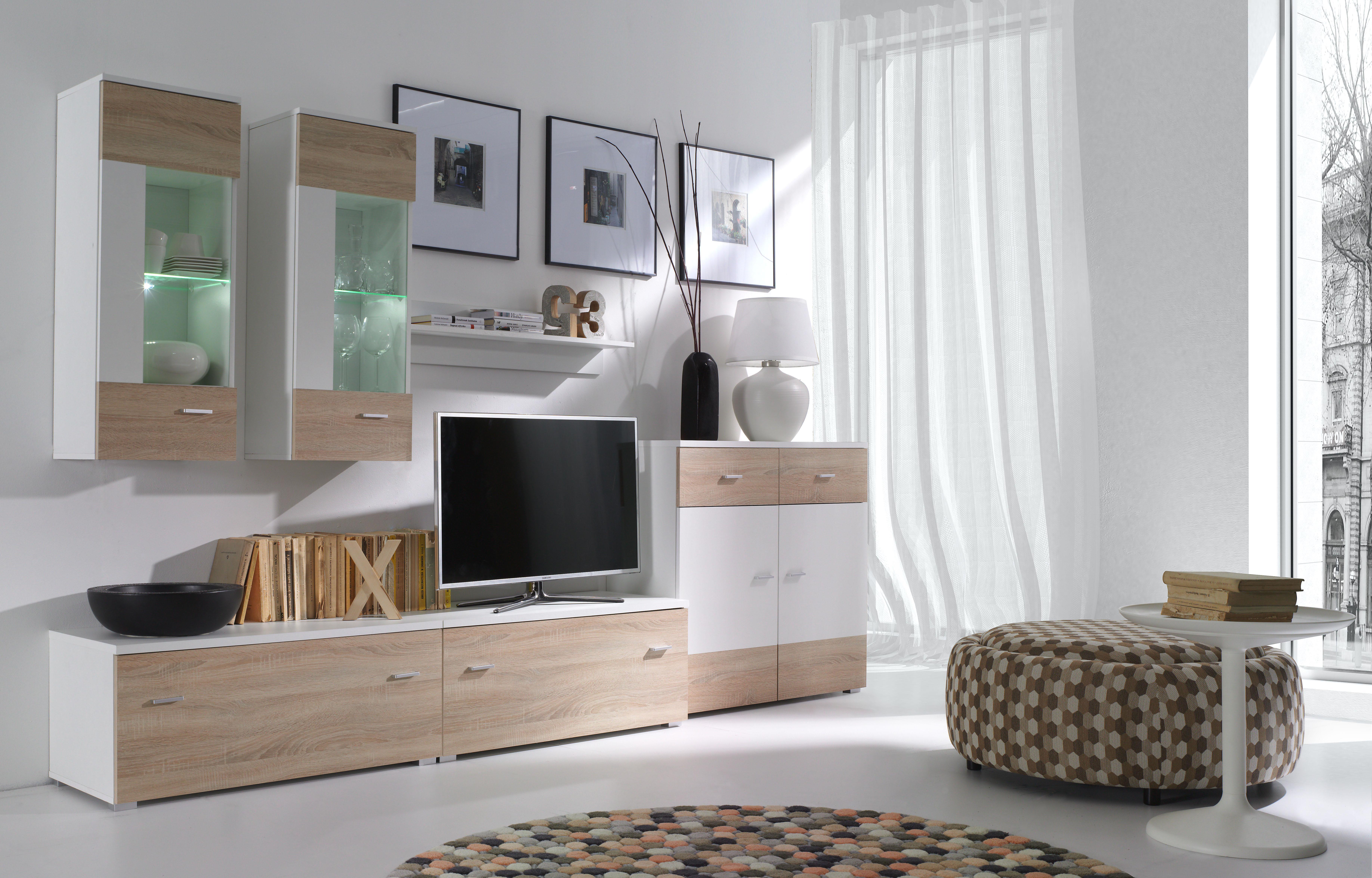 Obývacia stena - Welton - W2 (biela + dub sonoma). Akcia -33%. Sme autorizovaný predajca Jurek. Vlastná spoľahlivá doprava až k Vám domov.