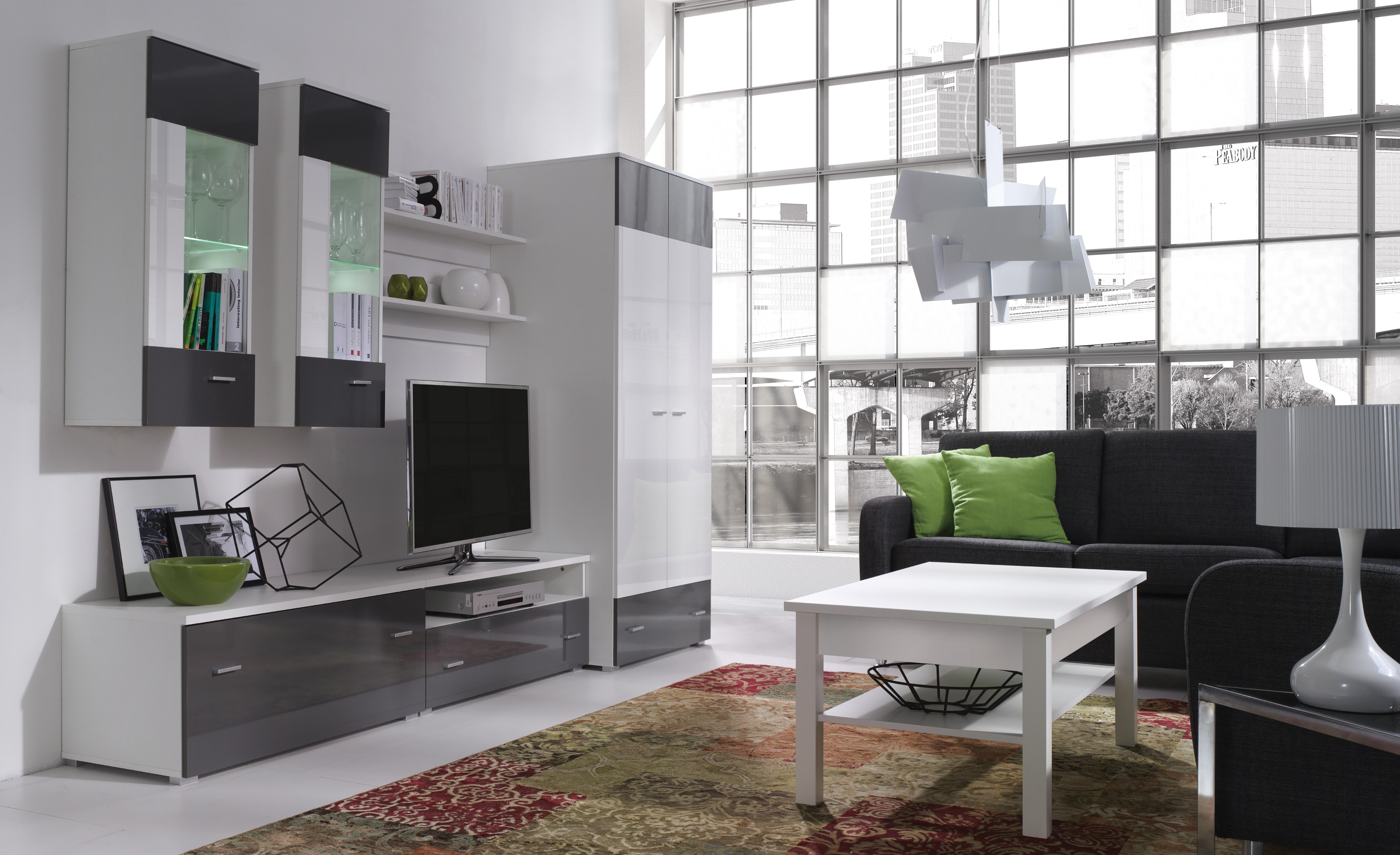 Obývacia stena - Welton - W4 (biela + lesk biely + lesk grafit). Akcia -33%. Sme autorizovaný predajca Jurek. Vlastná spoľahlivá doprava až k Vám domov.
