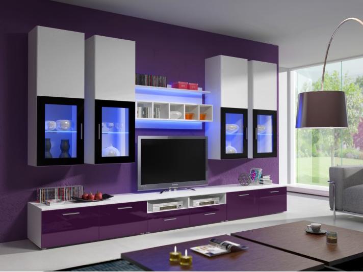 Obývacia stena - Aston 1 (biela + fialová) (s osvetlením). Akcia -33%. Doprava ZDARMA. Vlastná spoľahlivá doprava až k Vám domov.