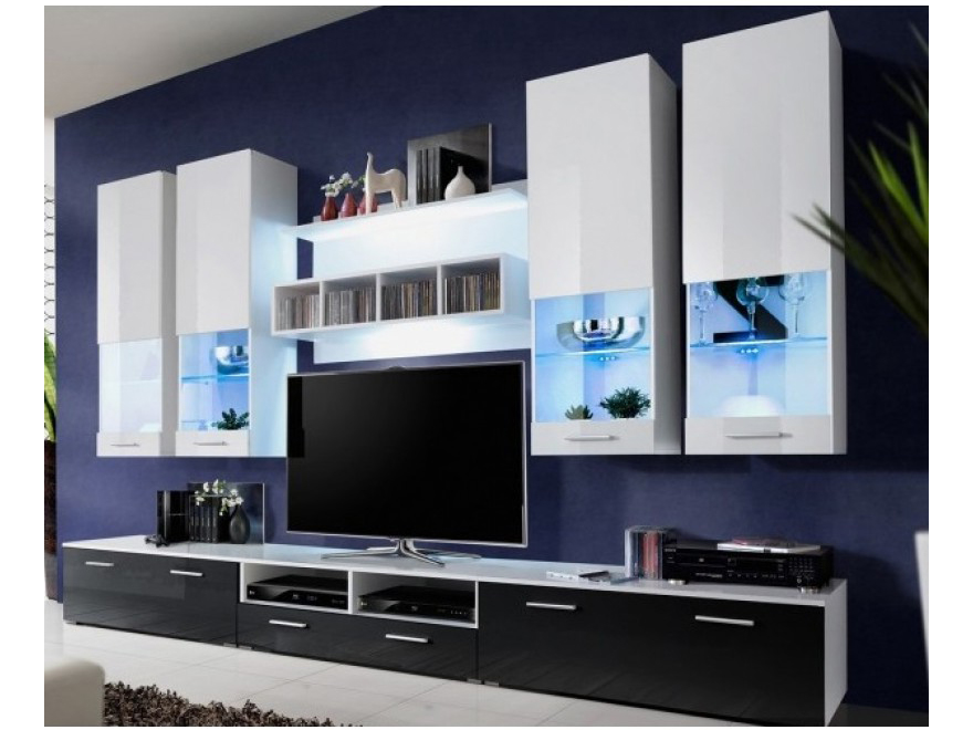 Obývacia stena - Aston 2 (biela + čierna) (s osvetlením). Akcia -32%. Vlastná spoľahlivá doprava až k Vám domov.