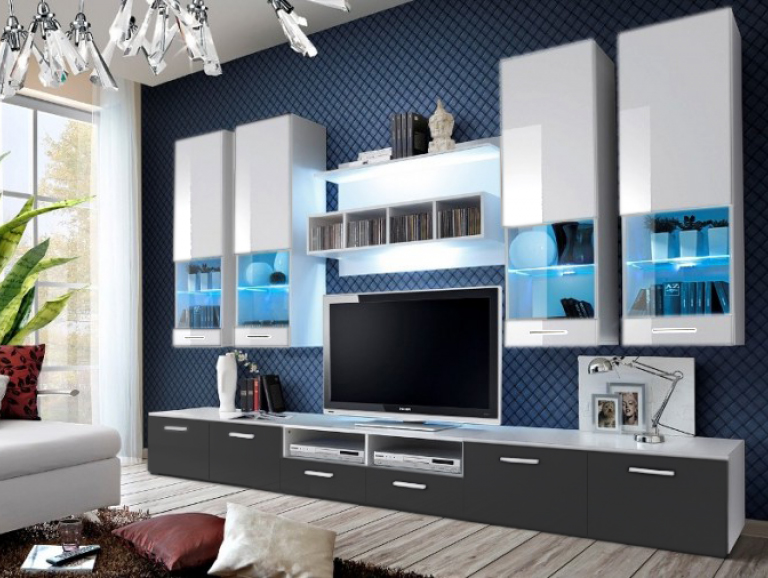 Obývacia stena - Aston 2 (biela + sivá) (s osvetlením). Akcia -32%. Vlastná spoľahlivá doprava až k Vám domov.