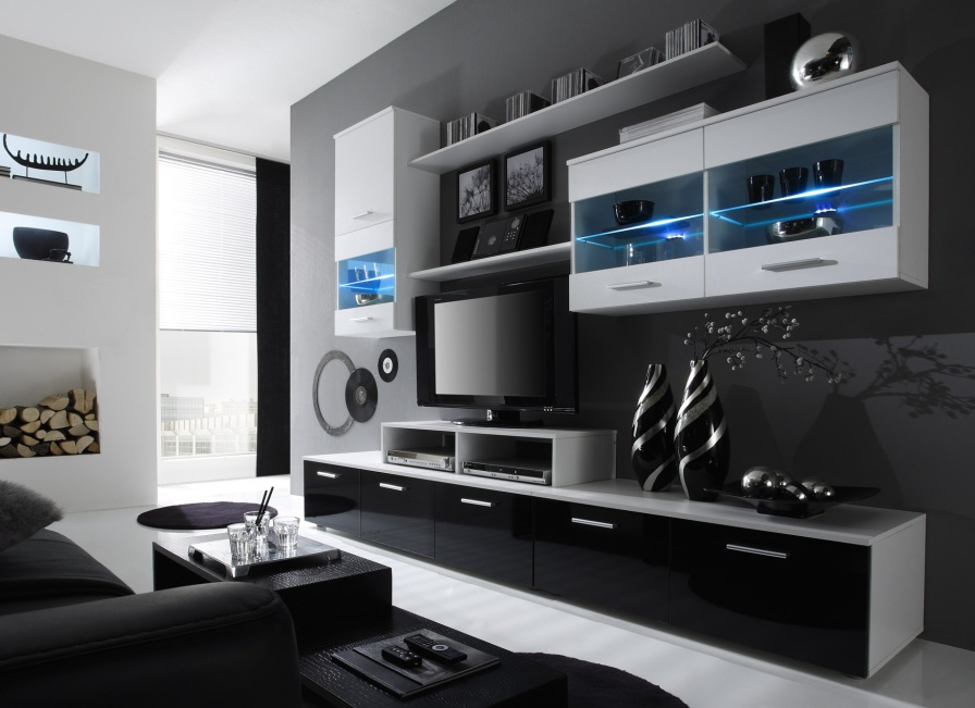 Obývacia Stena - Beverley I (biela + čierna) (s osvetlením). Akcia -33%. Sme autorizovaný predajca Karol. Vlastná spoľahlivá doprava až k Vám domov.