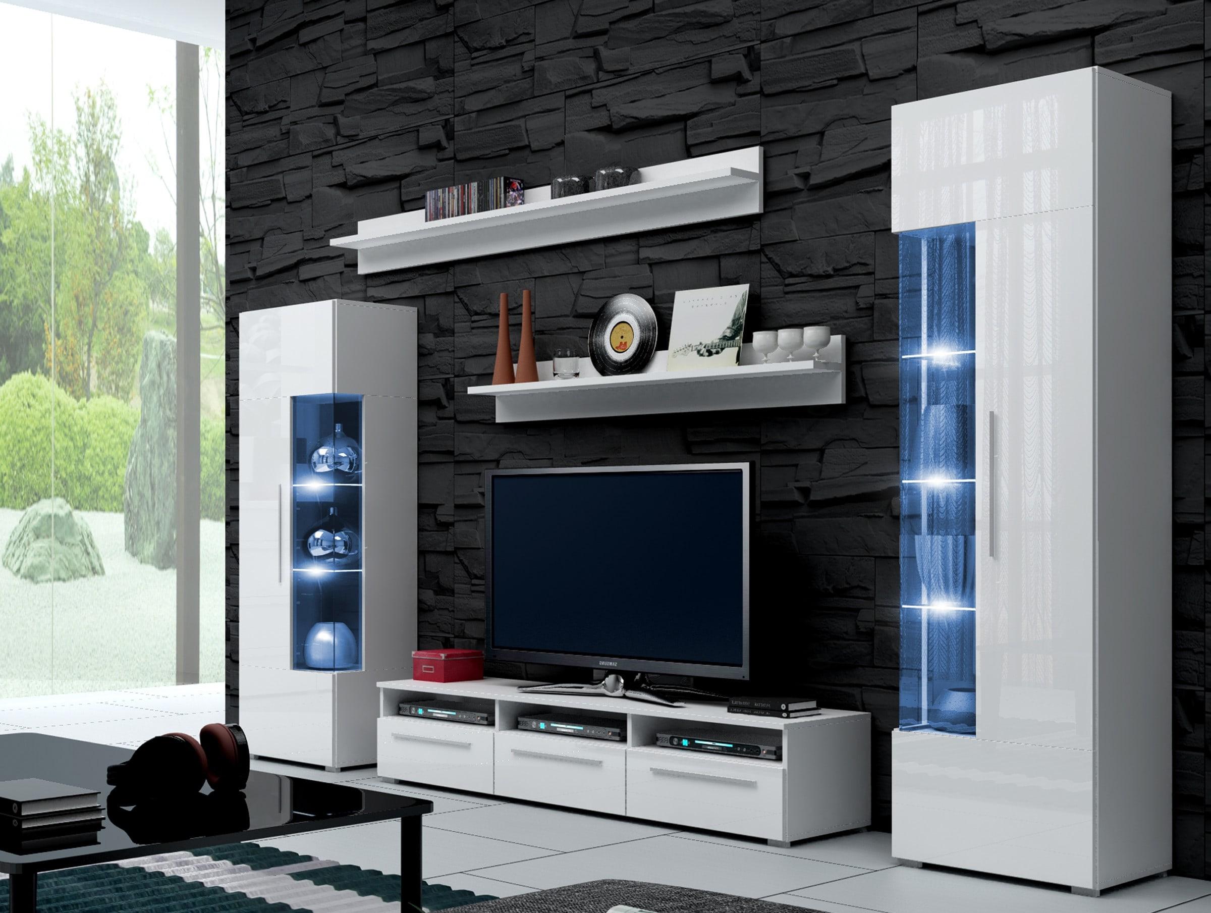 Obývacia stena - Ramon I (biela + biela) (s osvetlením). Akcia -31%. Vlastná spoľahlivá doprava až k Vám domov.