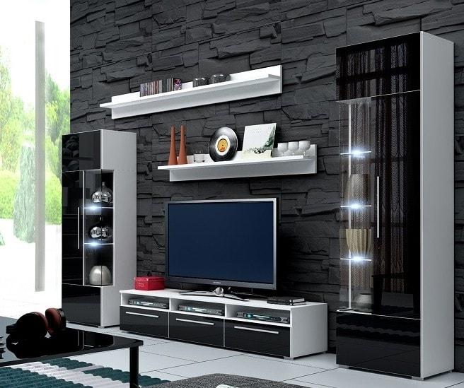 Obývacia stena - Ramon I (biela + čierna) (s osvetlením). Akcia -31%. Vlastná spoľahlivá doprava až k Vám domov.