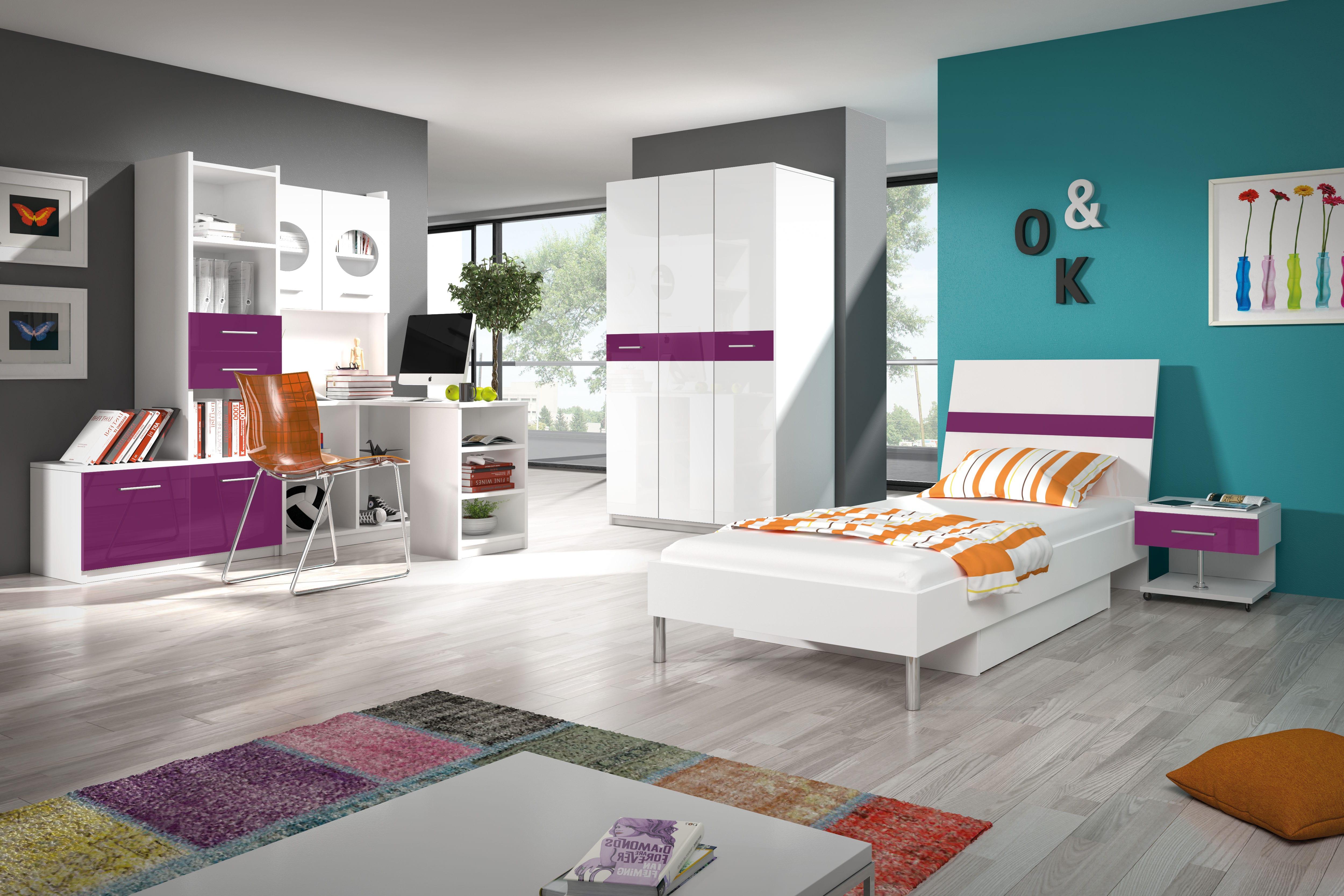 Študentská izba - Ruby I (biela + fialová). Akcia -33%. Doprava ZDARMA. Vlastná spoľahlivá doprava až k Vám domov.