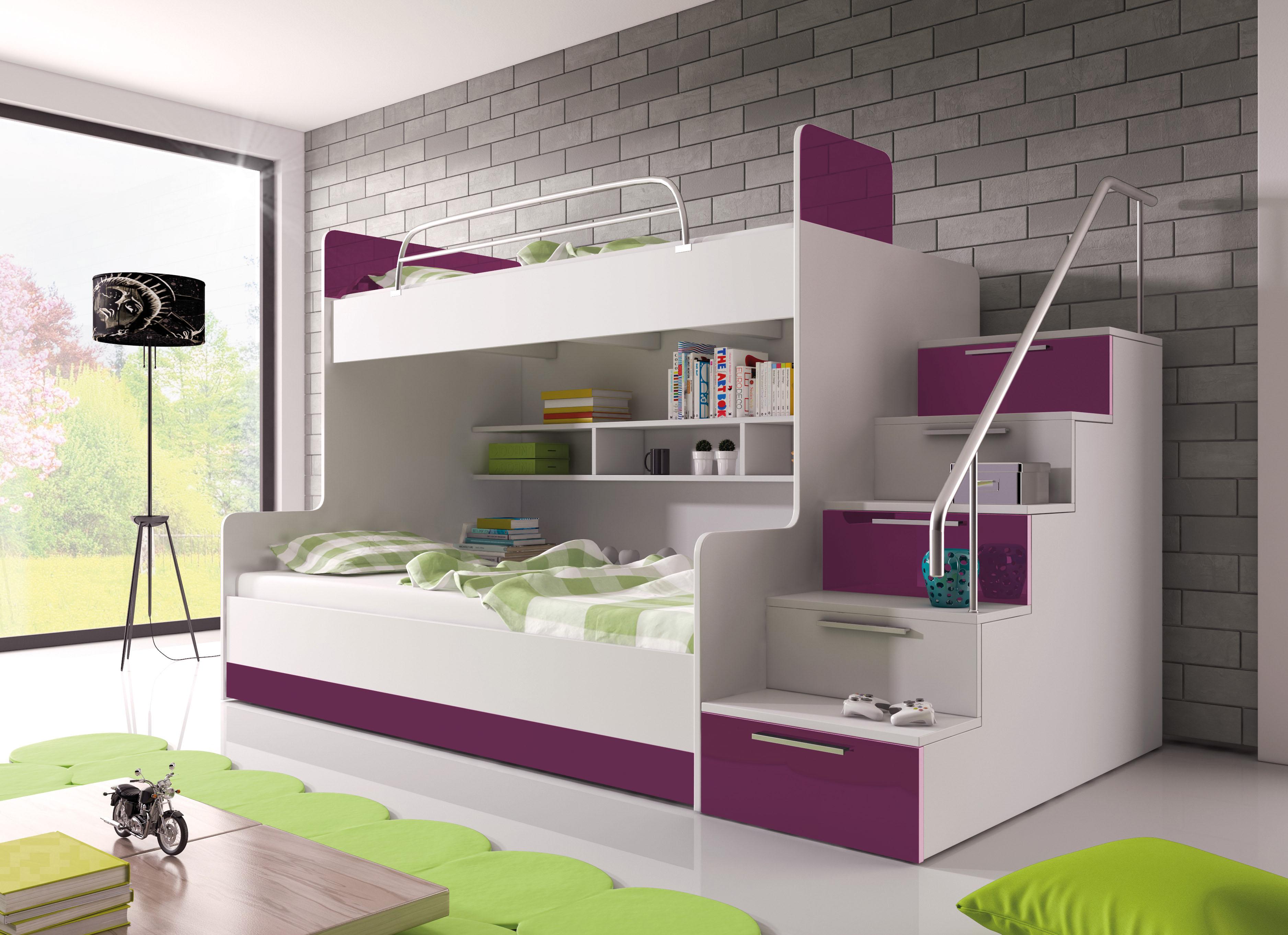 085bd6342145c Poschodová posteľ Ruby II (biela + fialová) (s roštom a matracom ...