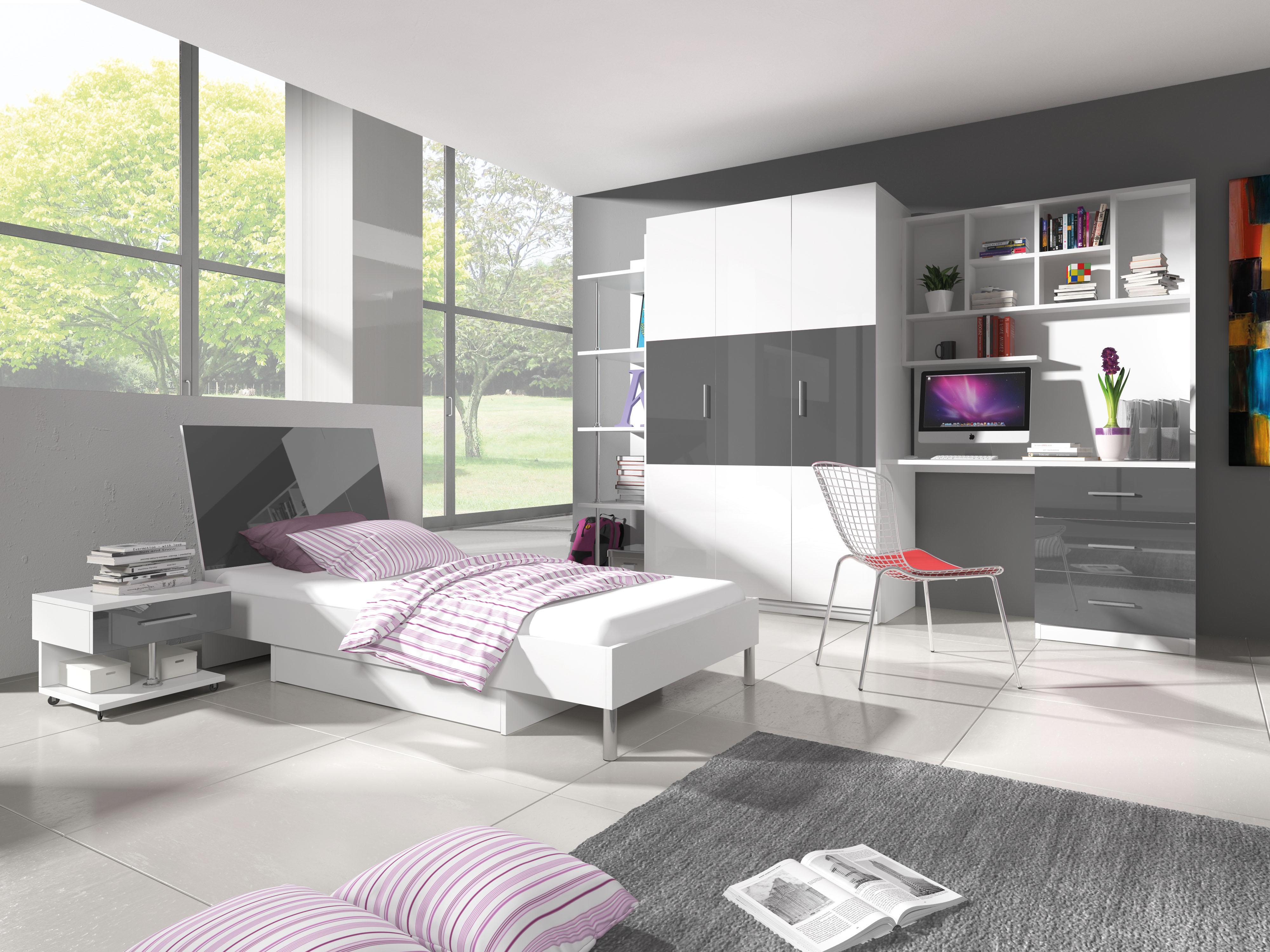 412c347708dd Študentská izba Ruby III (biela + sivá) (s roštom a matracom)