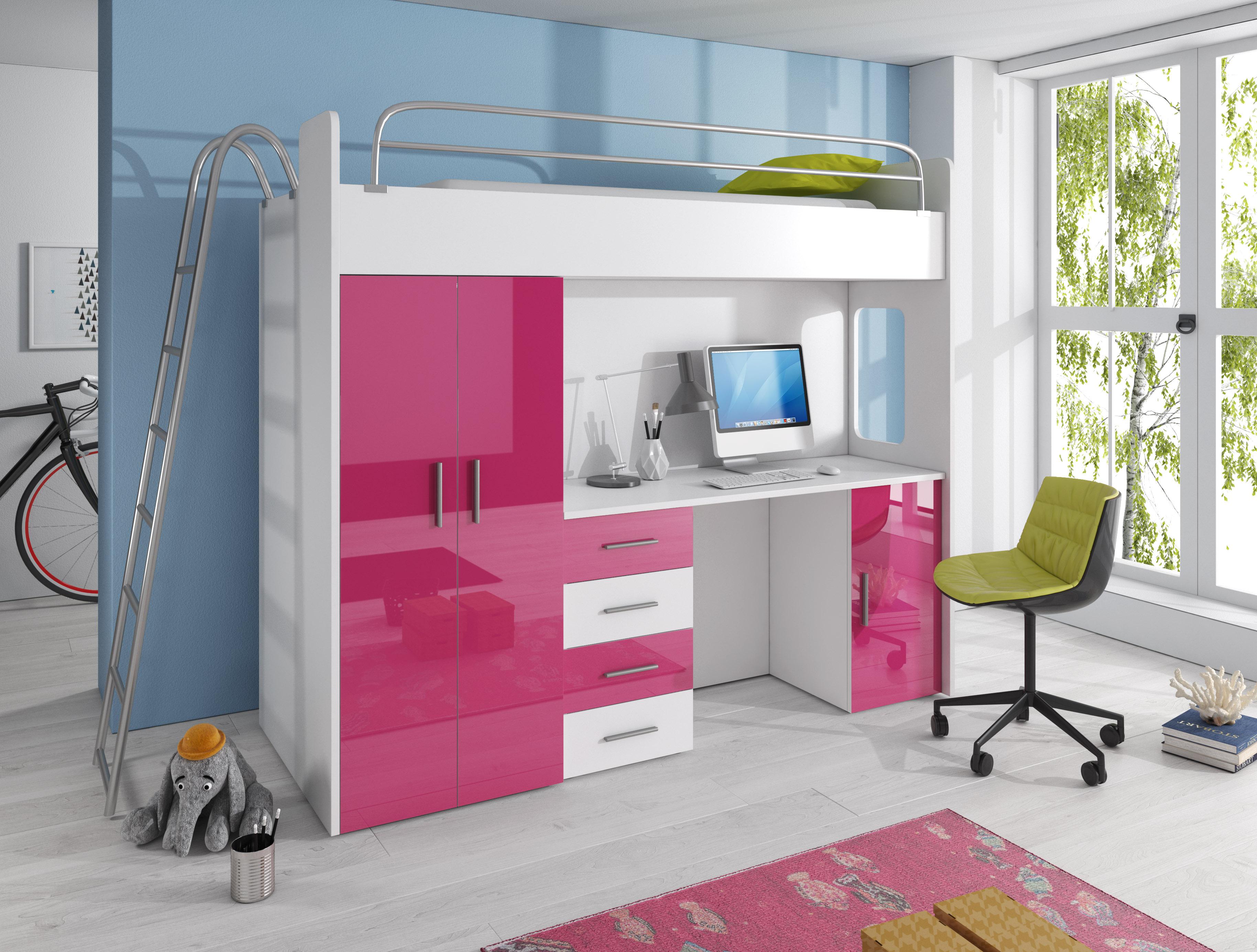 ccffa6bd0bdb Detská posteľ Ruby IV D (Biela + Ružová) (s roštom a matracom ...