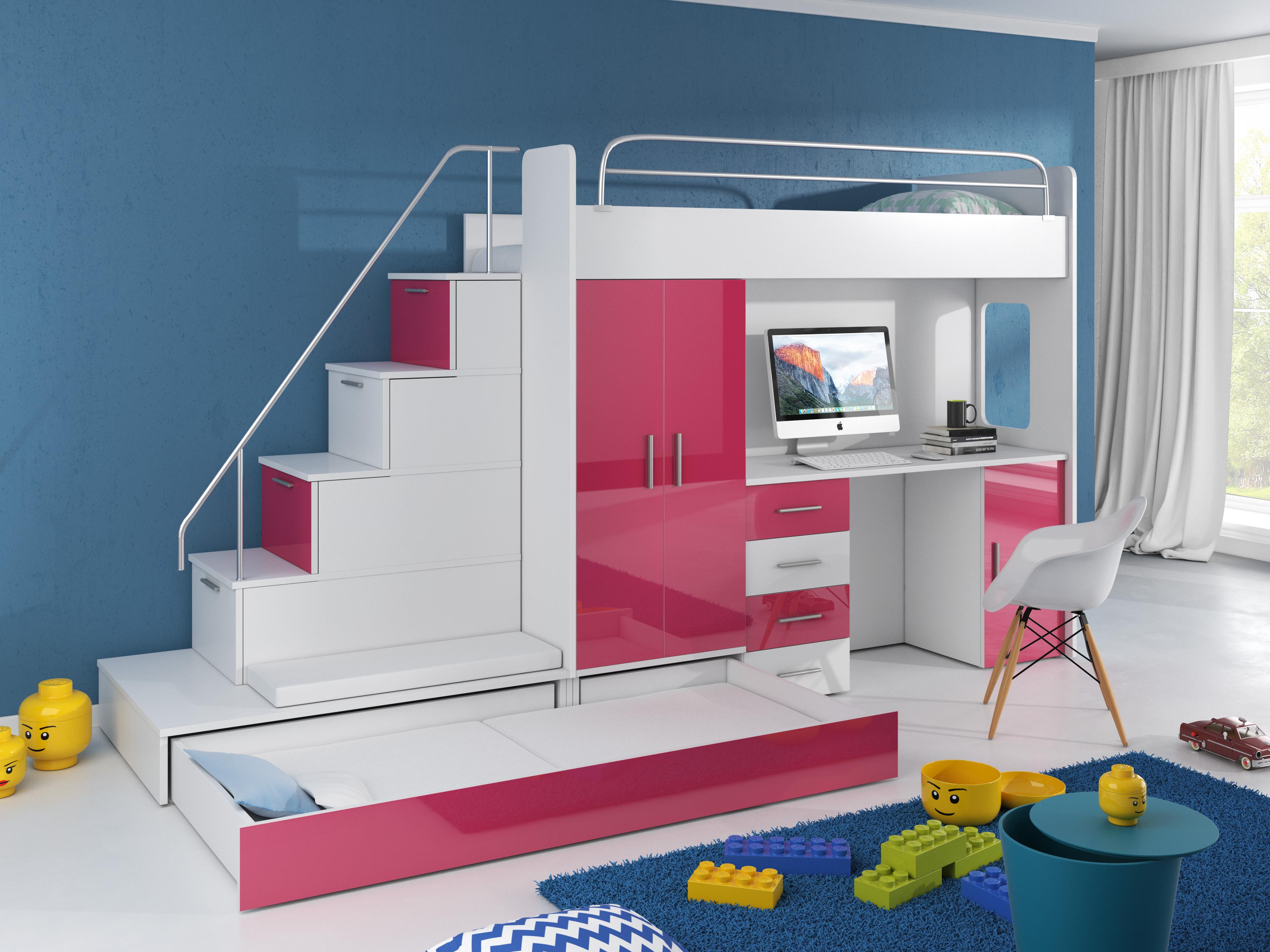 9a9a00b4f432 Detská posteľ Ruby V (Biela + Fialová) (s roštom a matracom ...