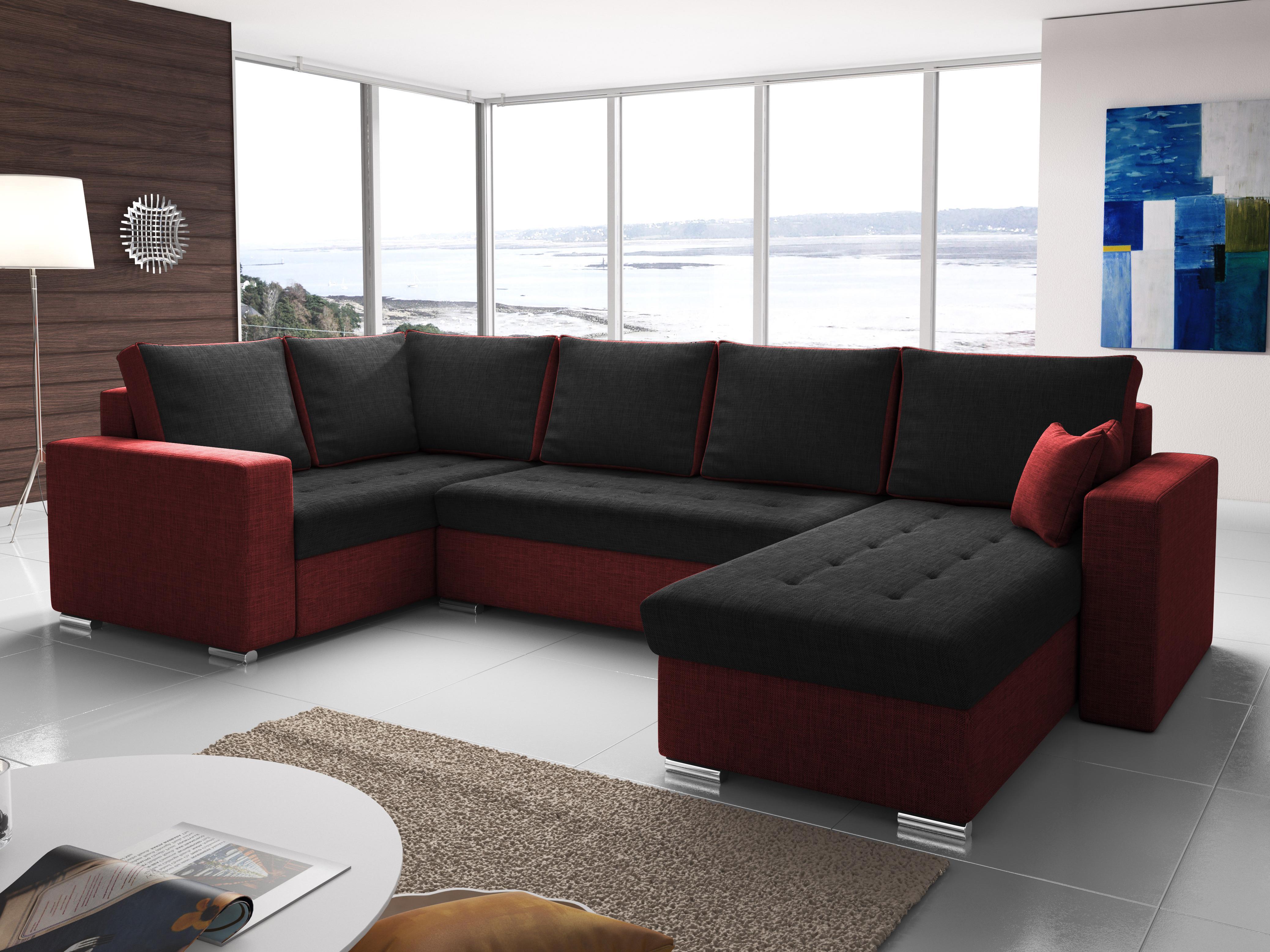 64f4af700e Rohová sedačka U Lambert (čierna + červená) (L)