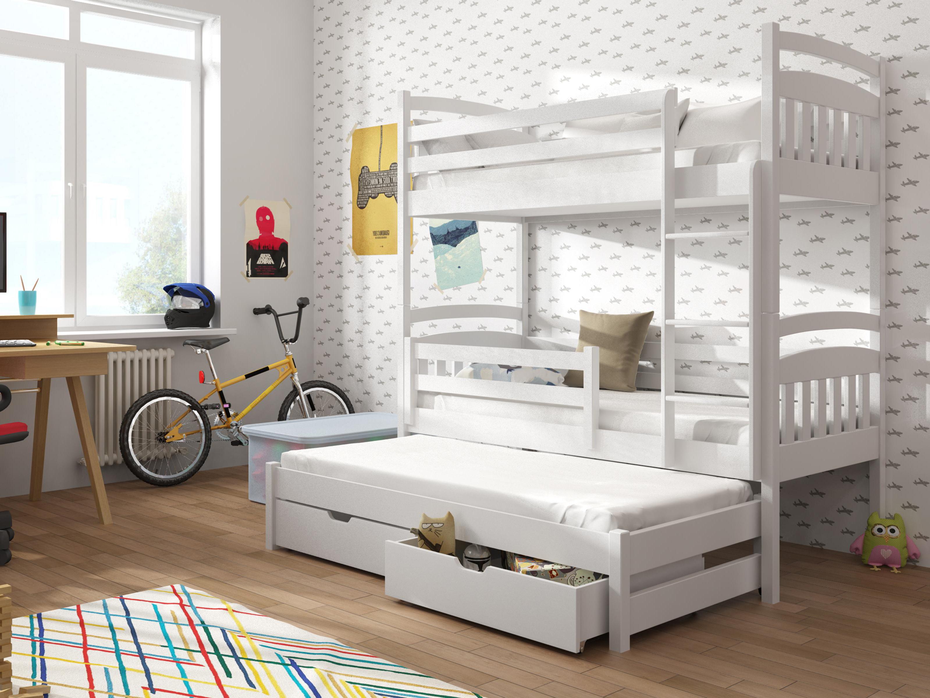fe0ebe41c5ddd Detská poschodová posteľ 90 cm Anie (biela) | NovýNábytok.sk