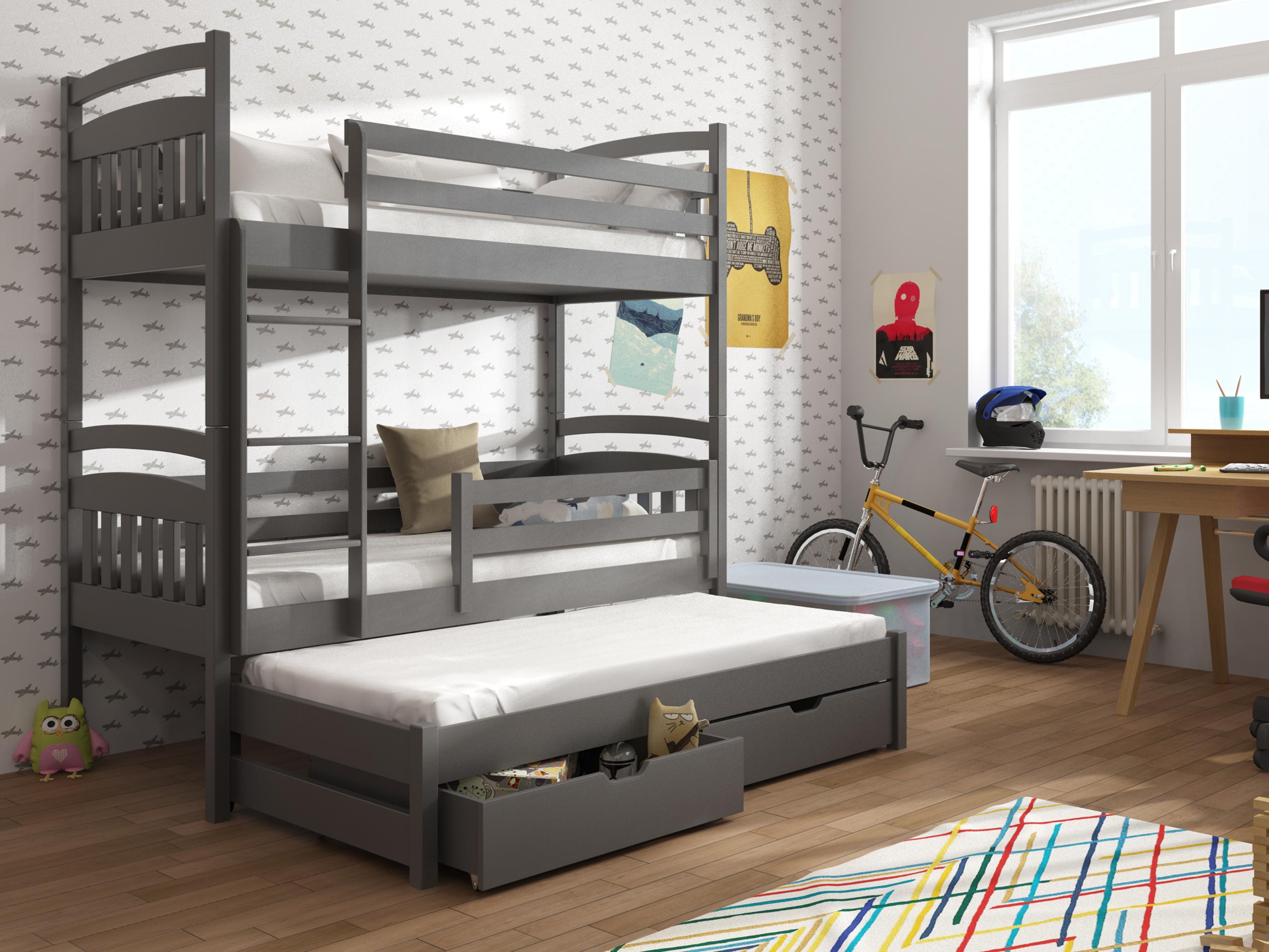 9bbb2d244658d Detská poschodová posteľ 90 cm Anie (grafit) | NovýNábytok.sk