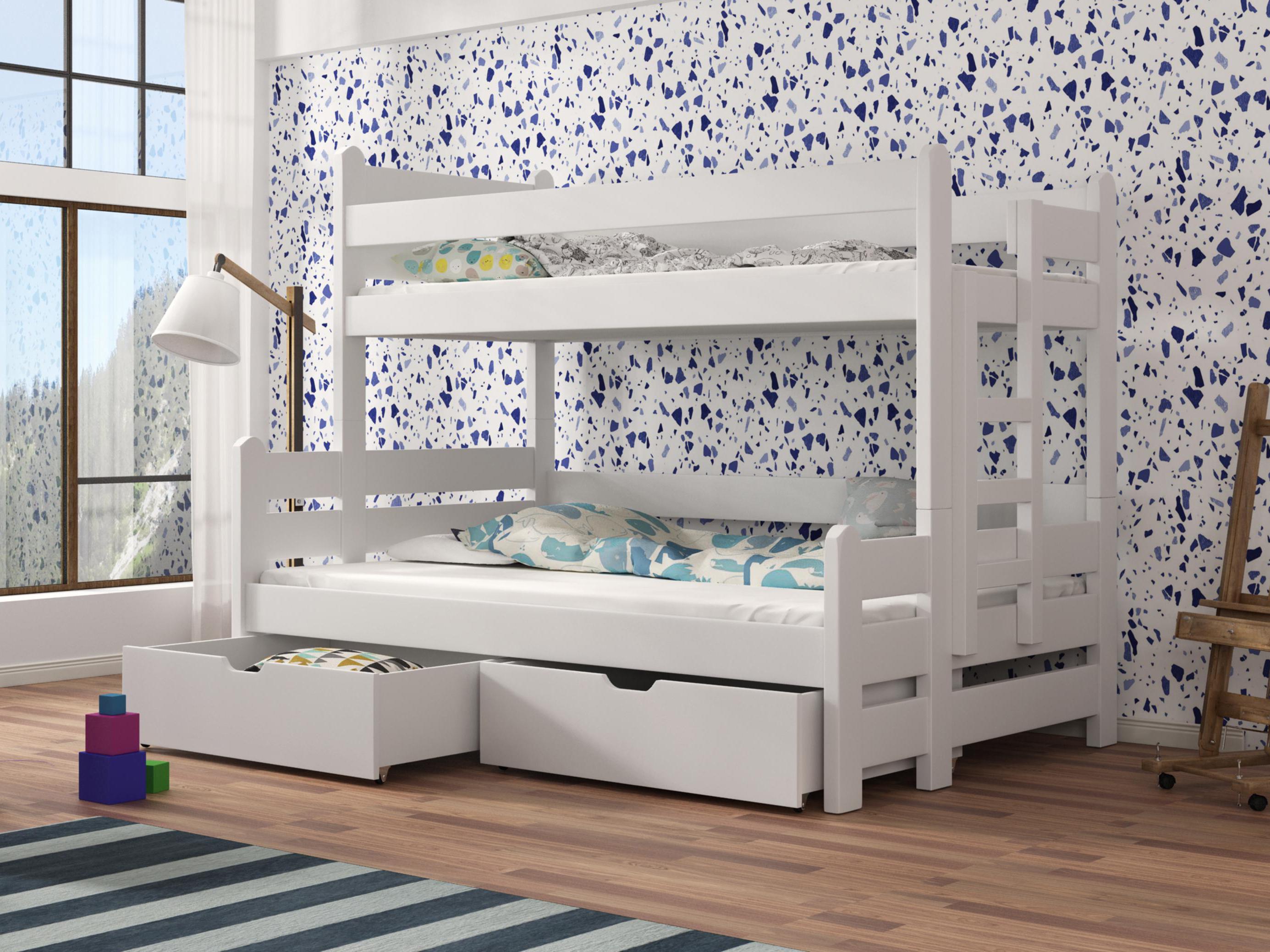808a6b7a1b5e9 Detská poschodová posteľ 90 cm Bivi (biela) | NovýNábytok.sk