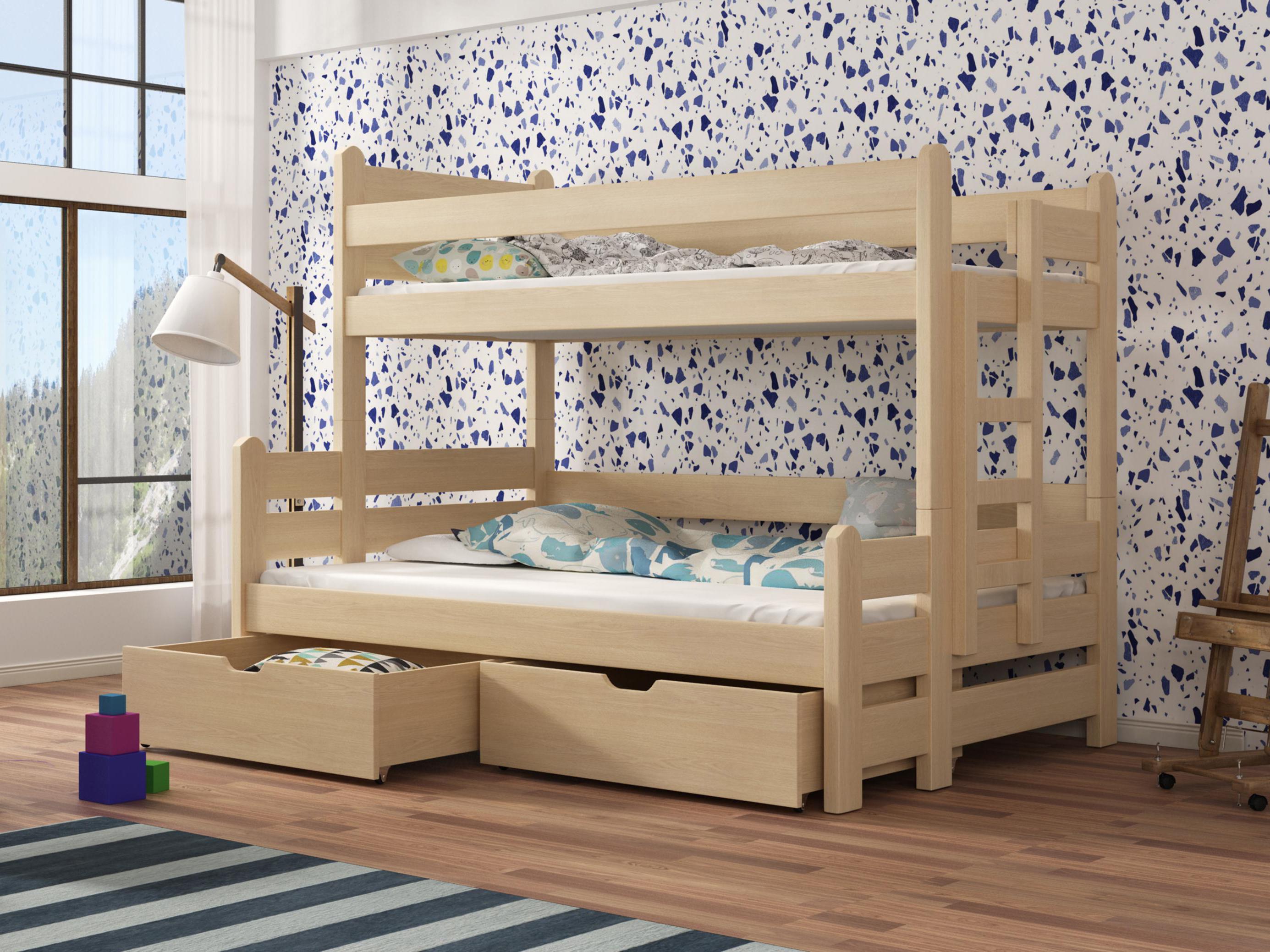 54374e9bdcadb Detská poschodová posteľ 90 cm Bivi (borovica) | NovýNábytok.sk