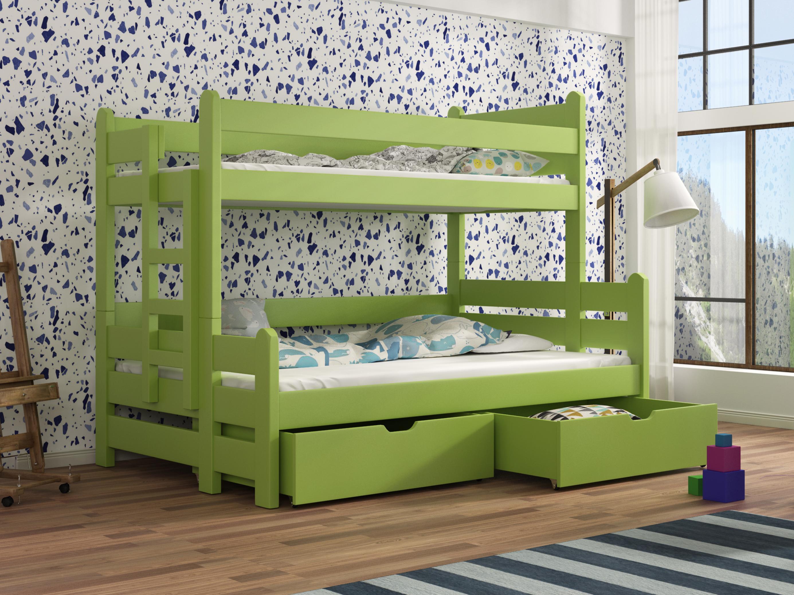 809c8c5e8cdf4 Detská poschodová posteľ 90 cm Bivi (zelená) | NovýNábytok.sk