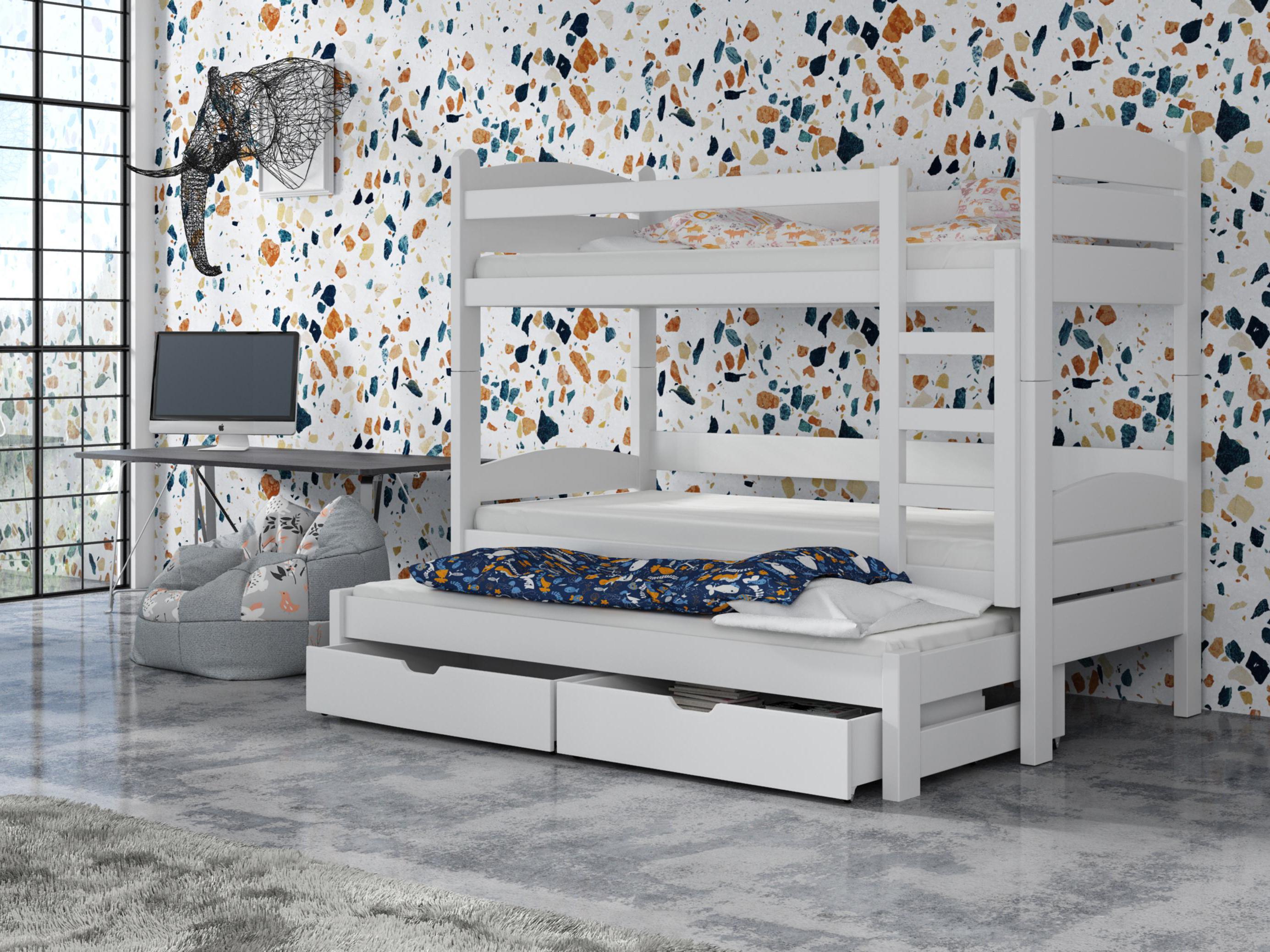 Detská poschodová posteľ 90 cm - Celsa (biela). Akcia -33%. Vlastná spoľahlivá doprava až k Vám domov.