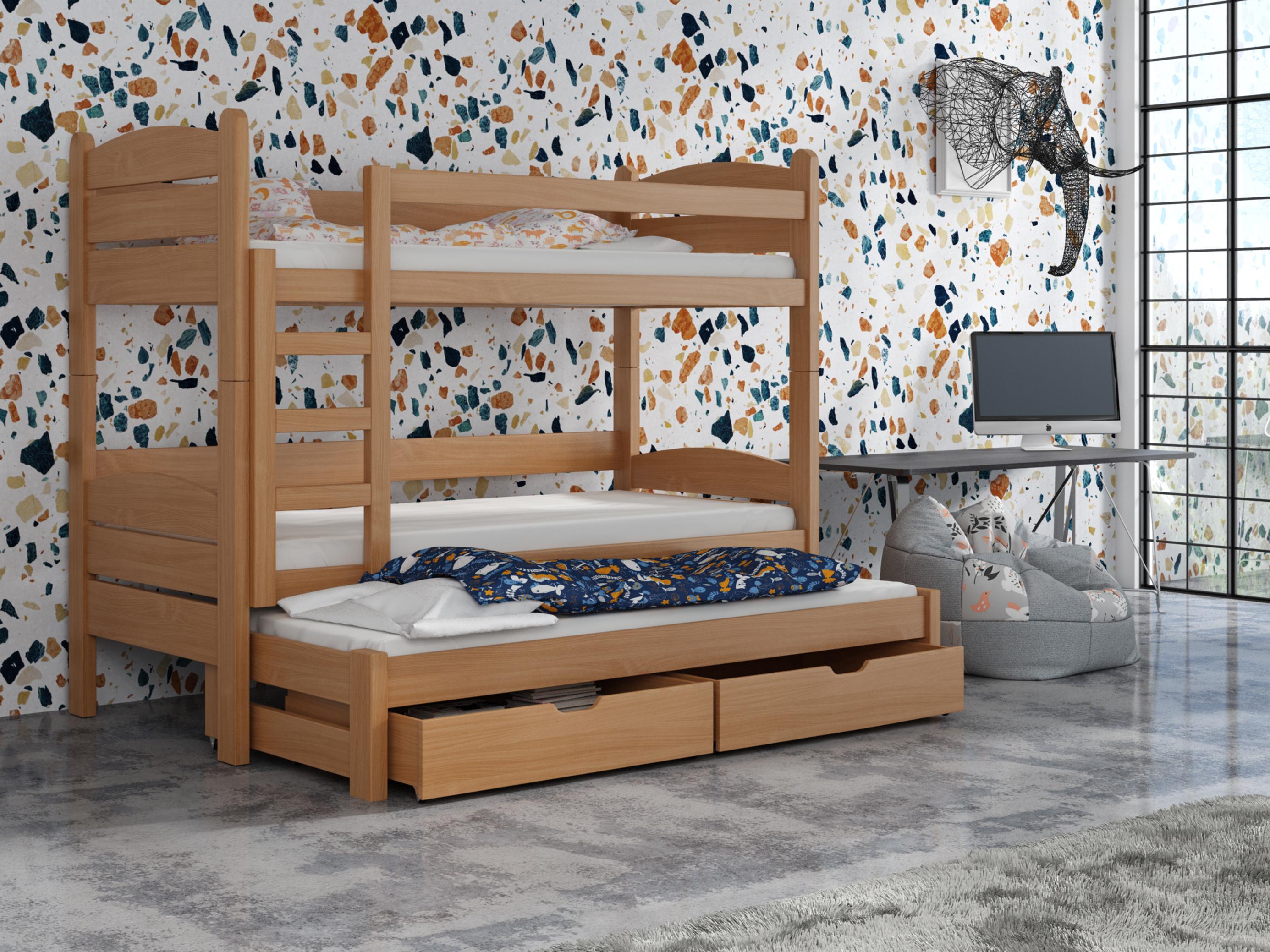 Detská poschodová posteľ 90 cm - Celsa (buk). Akcia -33%. Vlastná spoľahlivá doprava až k Vám domov.
