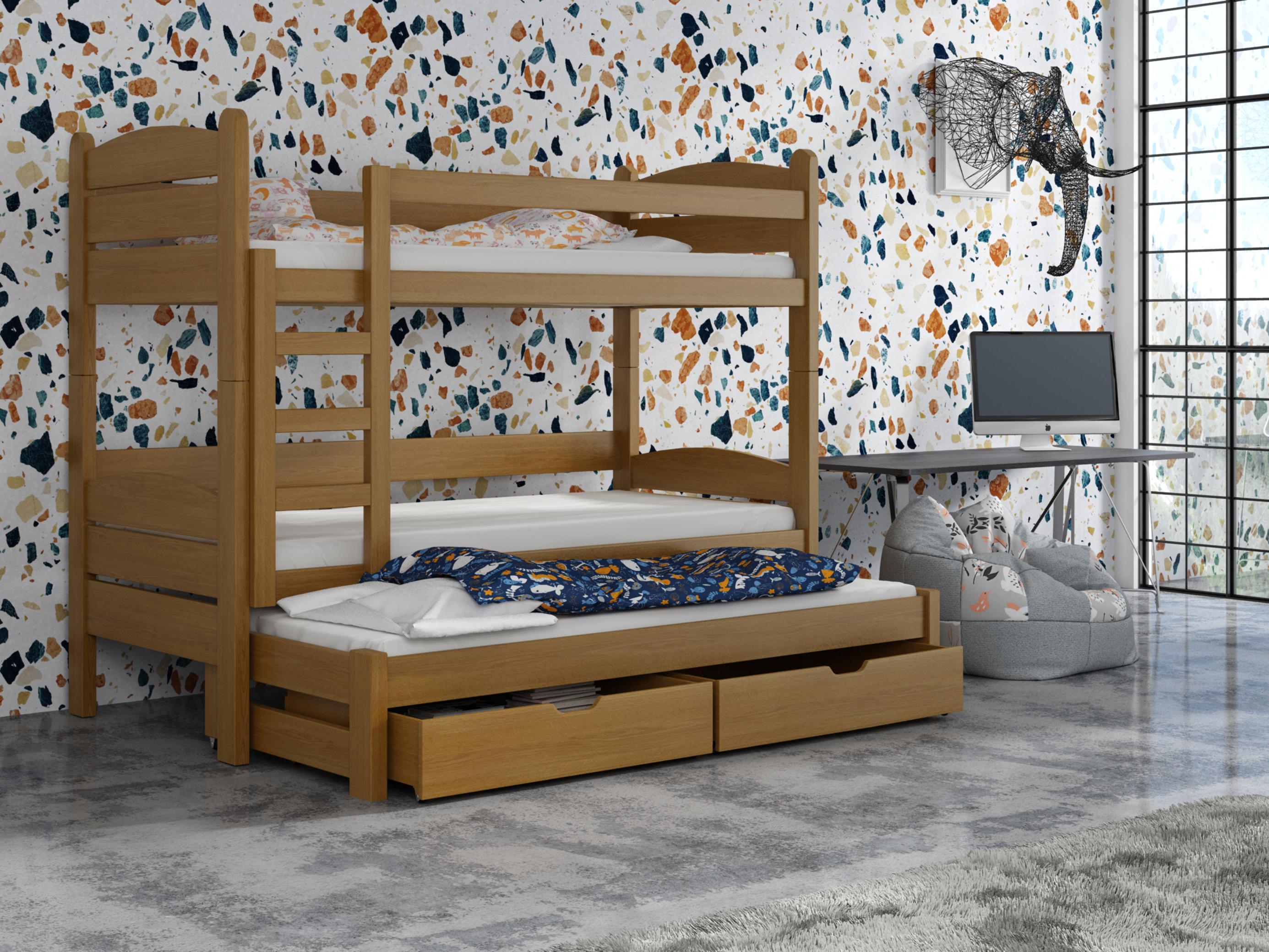 Detská poschodová posteľ 90 cm - Celsa (dub). Akcia -33%. Vlastná spoľahlivá doprava až k Vám domov.