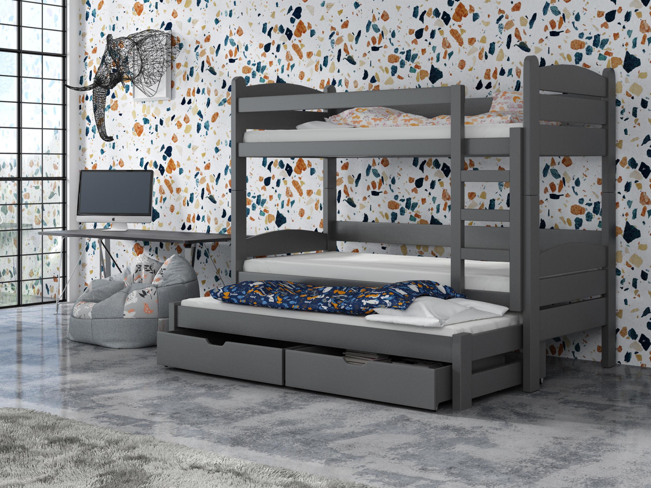 Detská poschodová posteľ 90 cm - Celsa (grafit). Akcia -33%. Vlastná spoľahlivá doprava až k Vám domov.