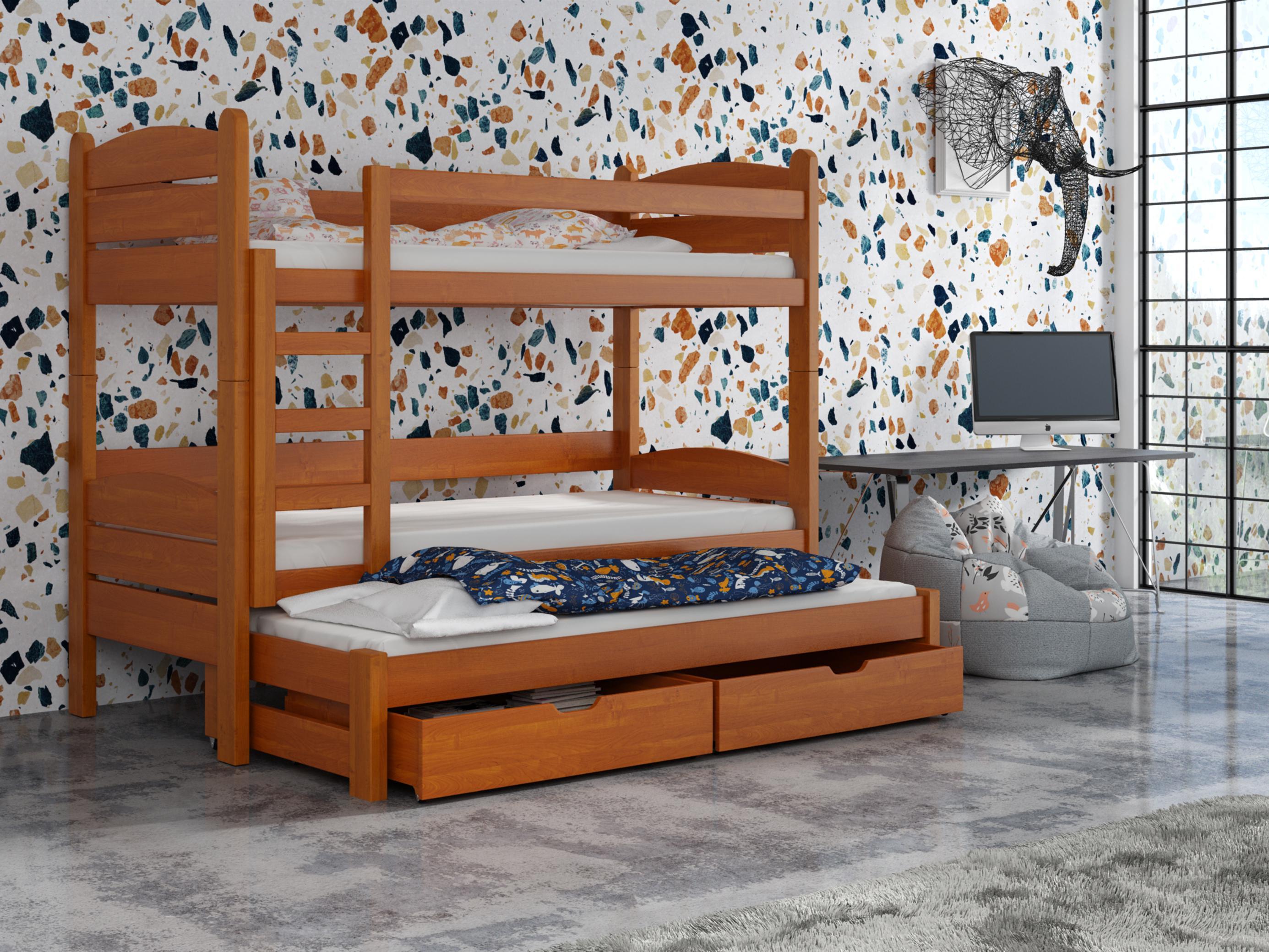 Detská poschodová posteľ 90 cm - Celsa (jelša). Akcia -33%. Vlastná spoľahlivá doprava až k Vám domov.