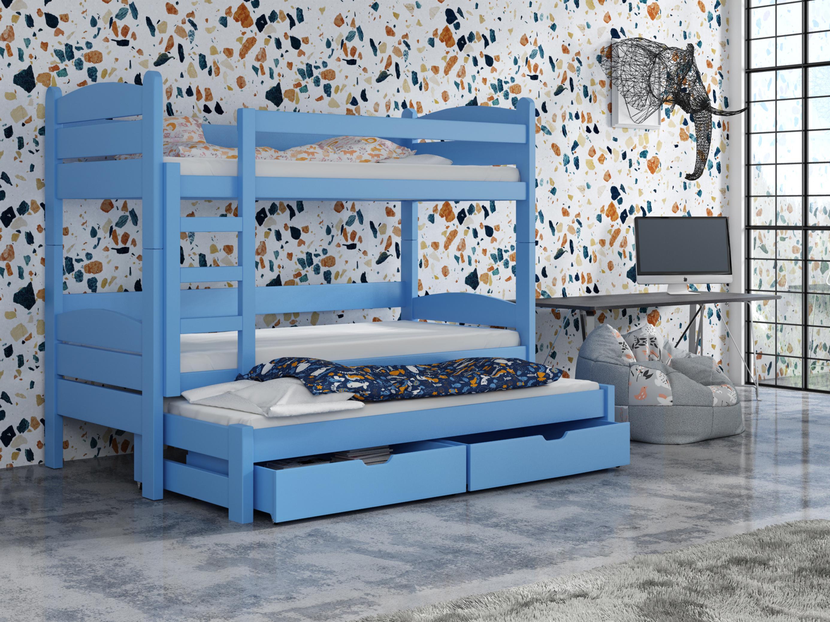 Detská poschodová posteľ 90 cm - Celsa (modrá). Akcia -33%. Vlastná spoľahlivá doprava až k Vám domov.