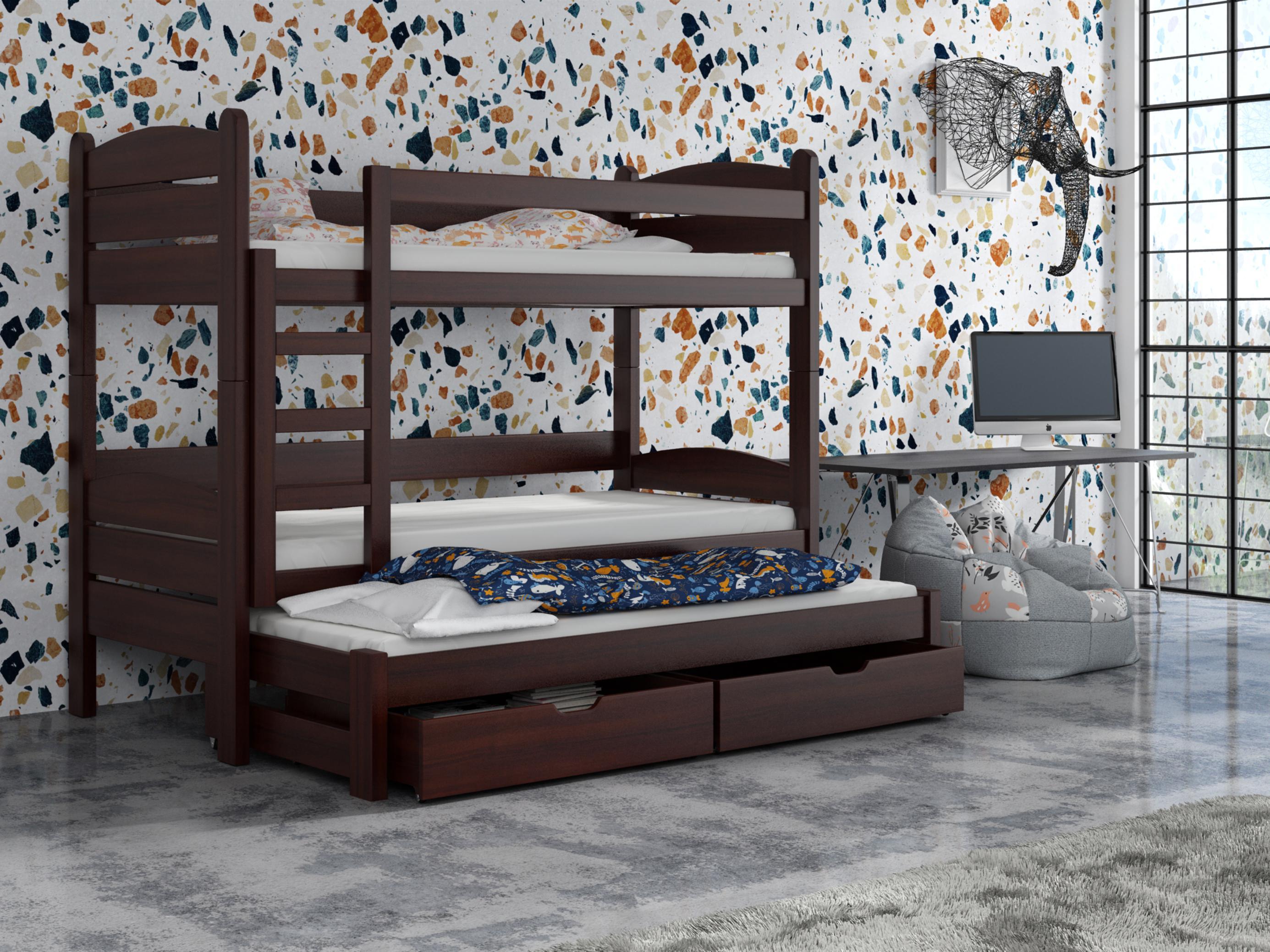 Detská poschodová posteľ 90 cm - Celsa (orech). Akcia -33%. Vlastná spoľahlivá doprava až k Vám domov.