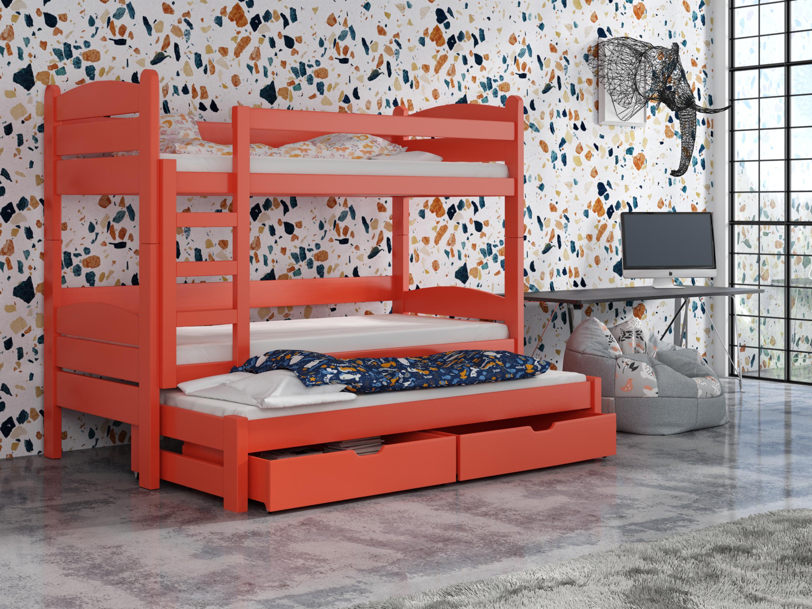 Detská poschodová posteľ 90 cm - Celsa (pomaranč). Akcia -33%. Vlastná spoľahlivá doprava až k Vám domov.