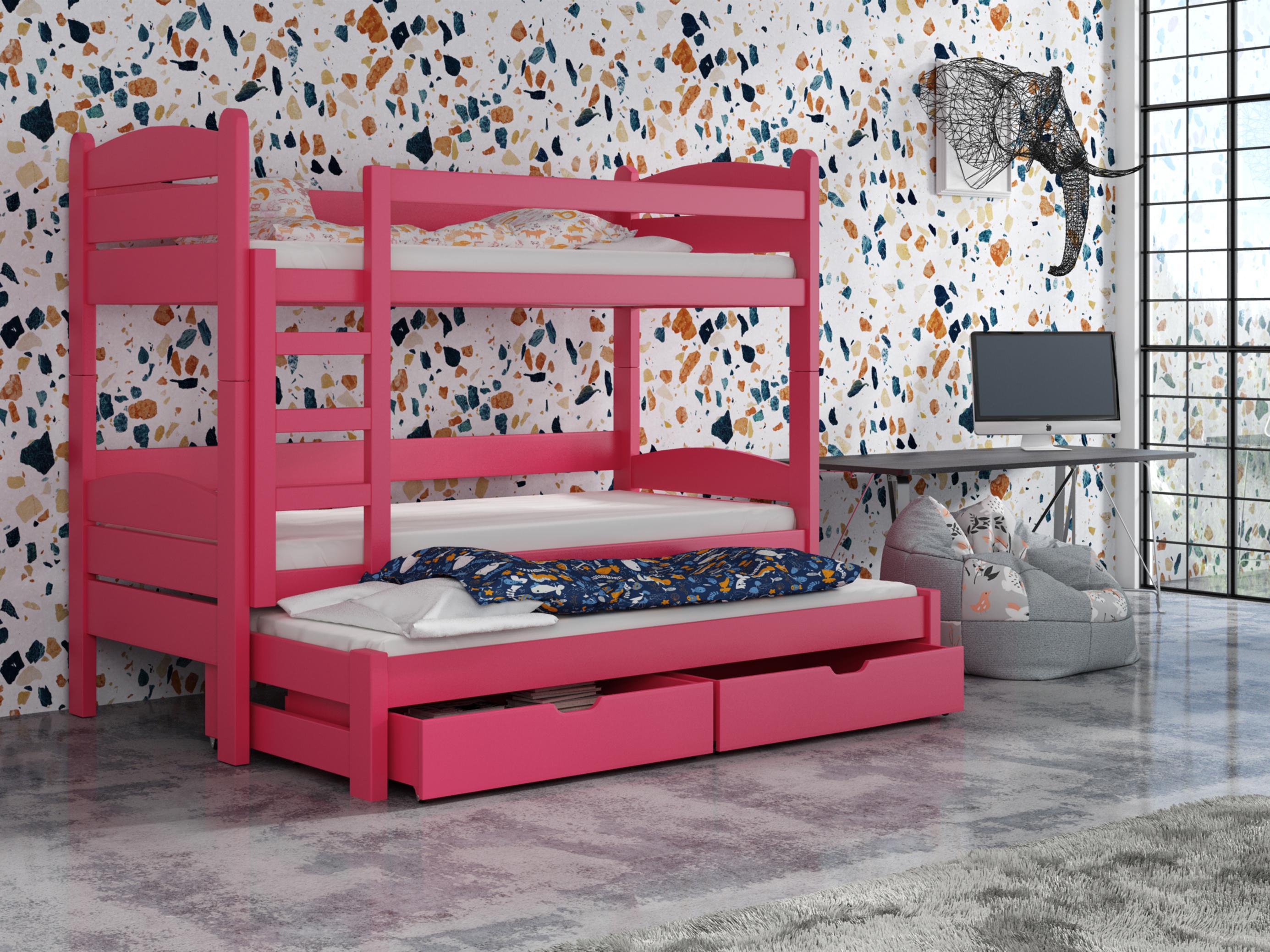 Detská poschodová posteľ 90 cm - Celsa (ružová). Akcia -33%. Vlastná spoľahlivá doprava až k Vám domov.
