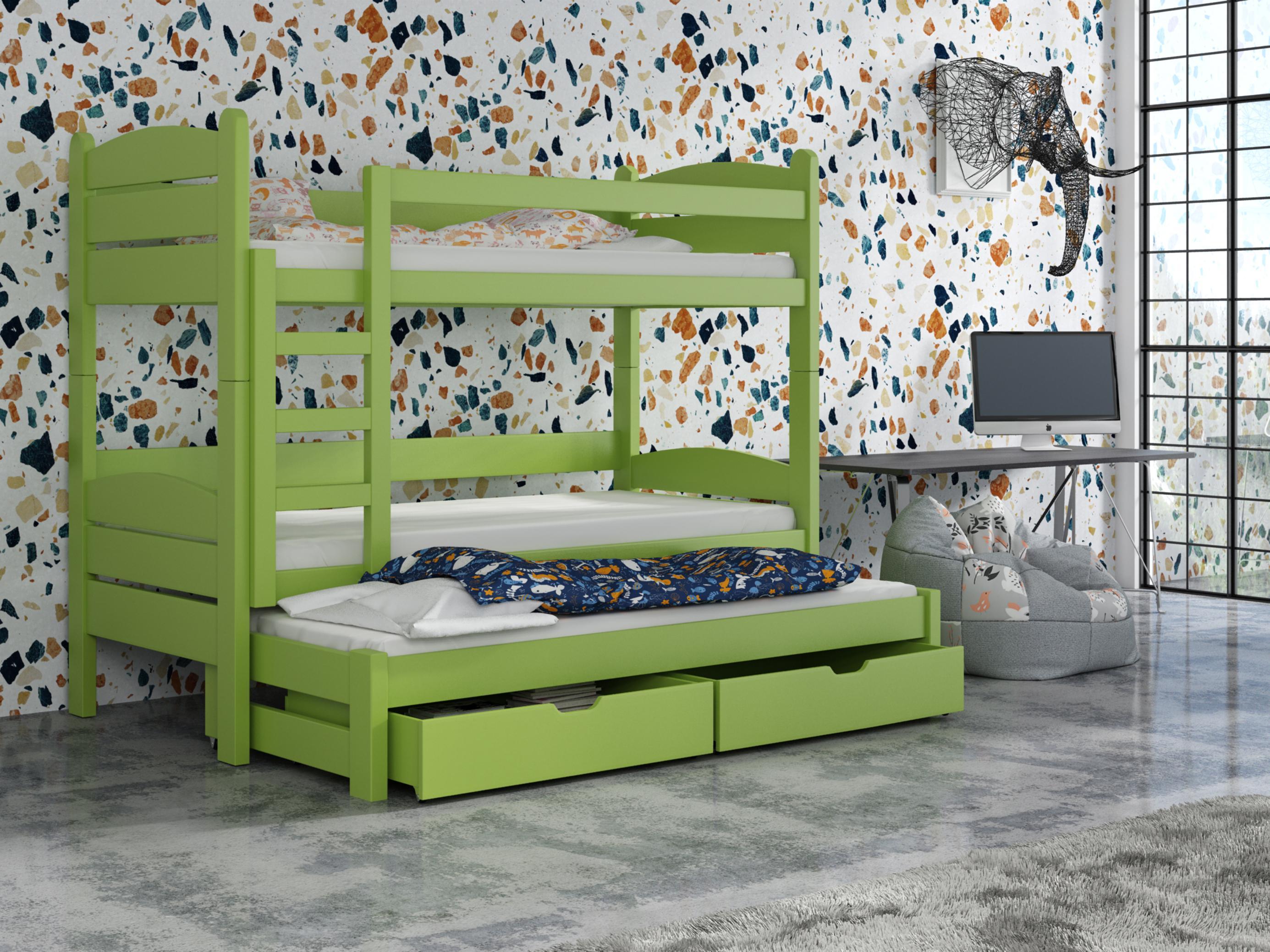 Detská poschodová posteľ 90 cm - Celsa (zelená). Akcia -33%. Vlastná spoľahlivá doprava až k Vám domov.