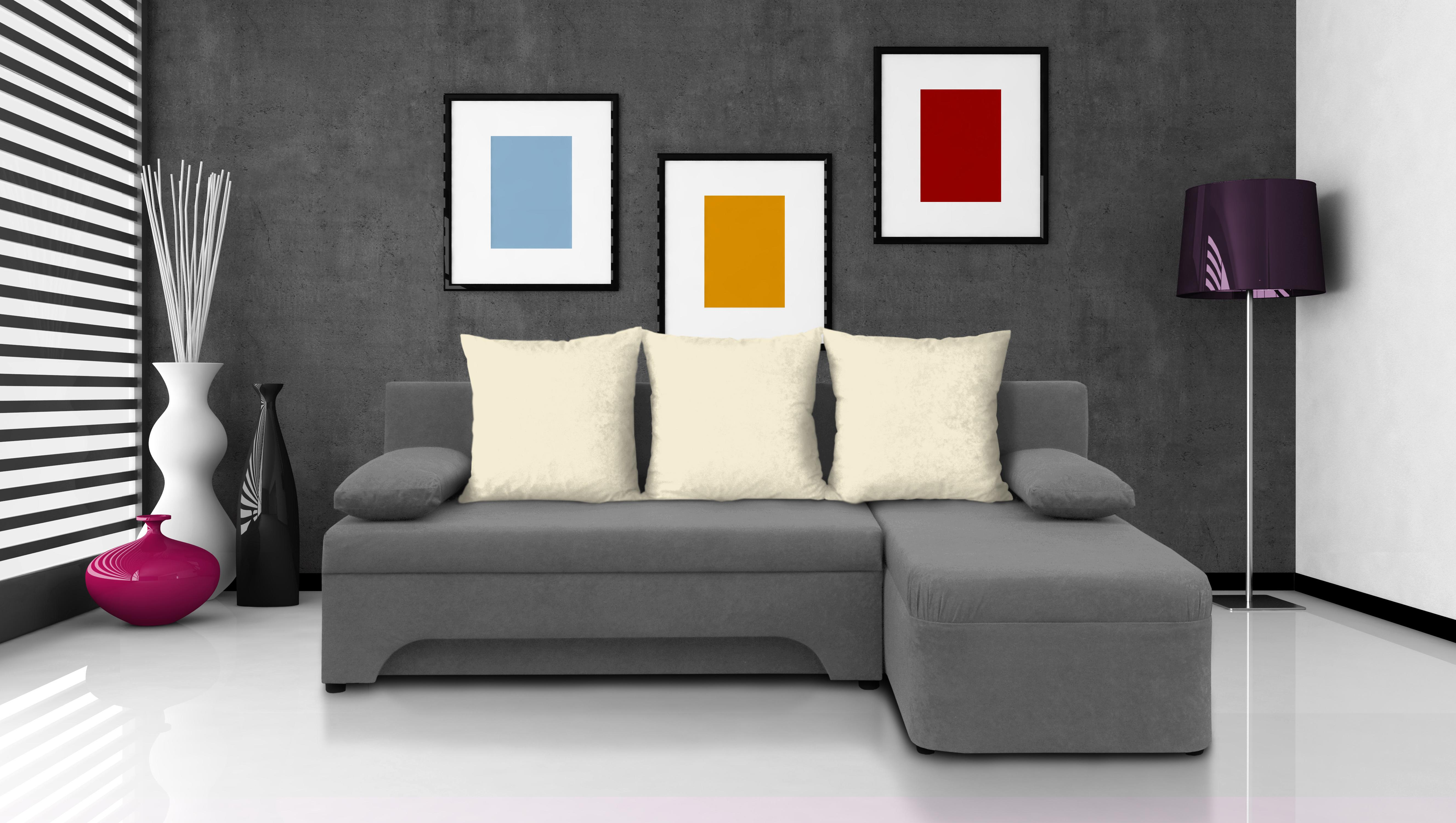 Rohová sedačka - Saline - sivá + krémové vankúše - (1 úložný priestor, pena) *bazár. Akcia -52%. Vlastná spoľahlivá doprava až k Vám domov.
