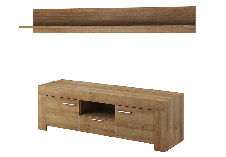 TV stolík/skrinka - Skat - SRTV155 (dub riviera) (s poličkou) (P155). Akcia -34%. Sme autorizovaný predajca Piaski. Vlastná spoľahlivá doprava až k Vám domov.