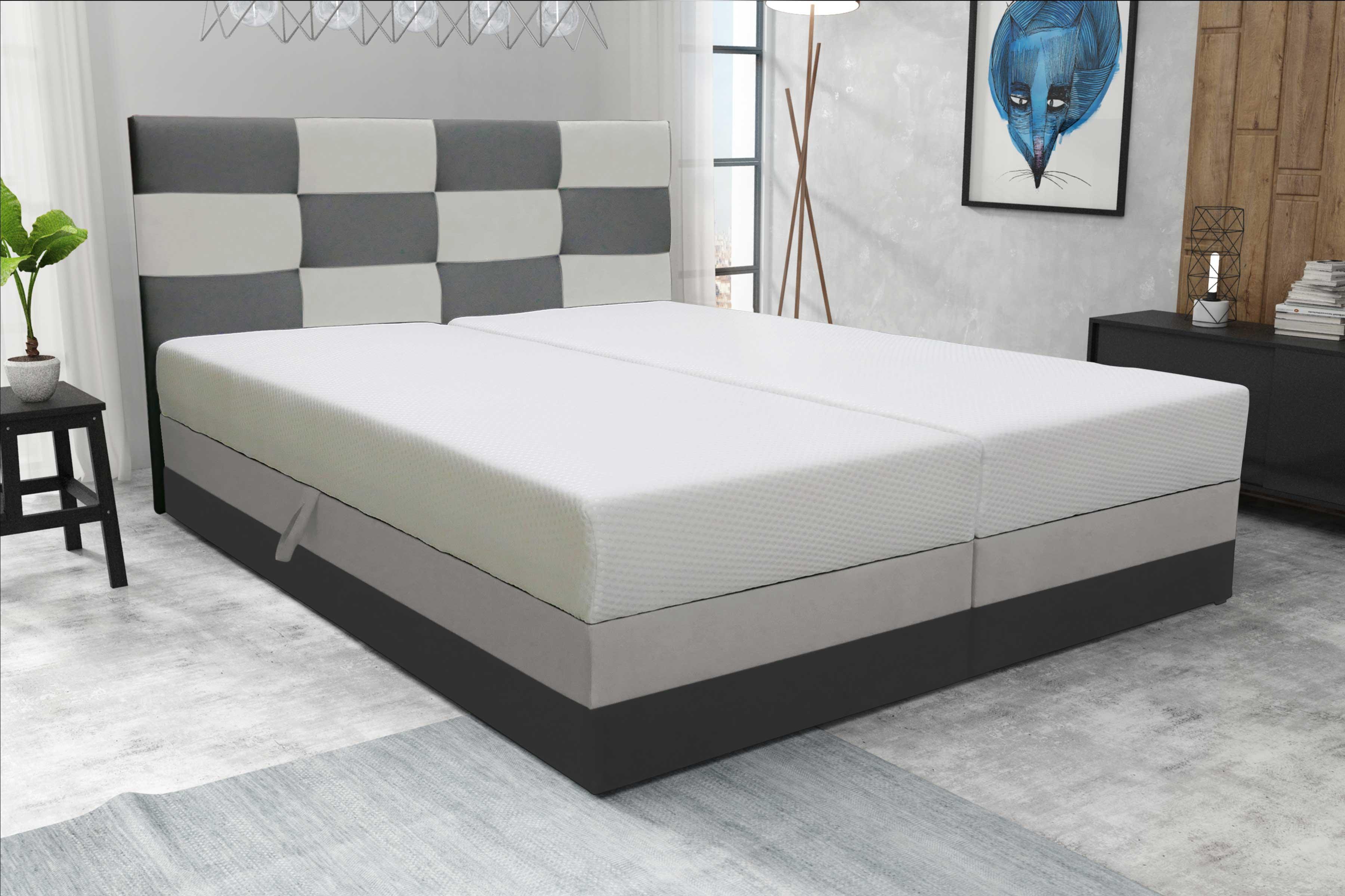 Manželská posteľ 180 cm - Marion (sivá + biela). Sme autorizovaný predajca Futura. Vlastná spoľahlivá doprava až k Vám domov.