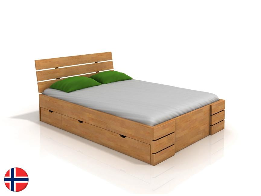 Manželská posteľ 160 cm - Naturlig - Lorenskog High Drawers (buk) (s roštom). Doprava ZDARMA. Sme autorizovaný predajca Naturlig. Vlastná spoľahlivá doprava až k Vám domov.
